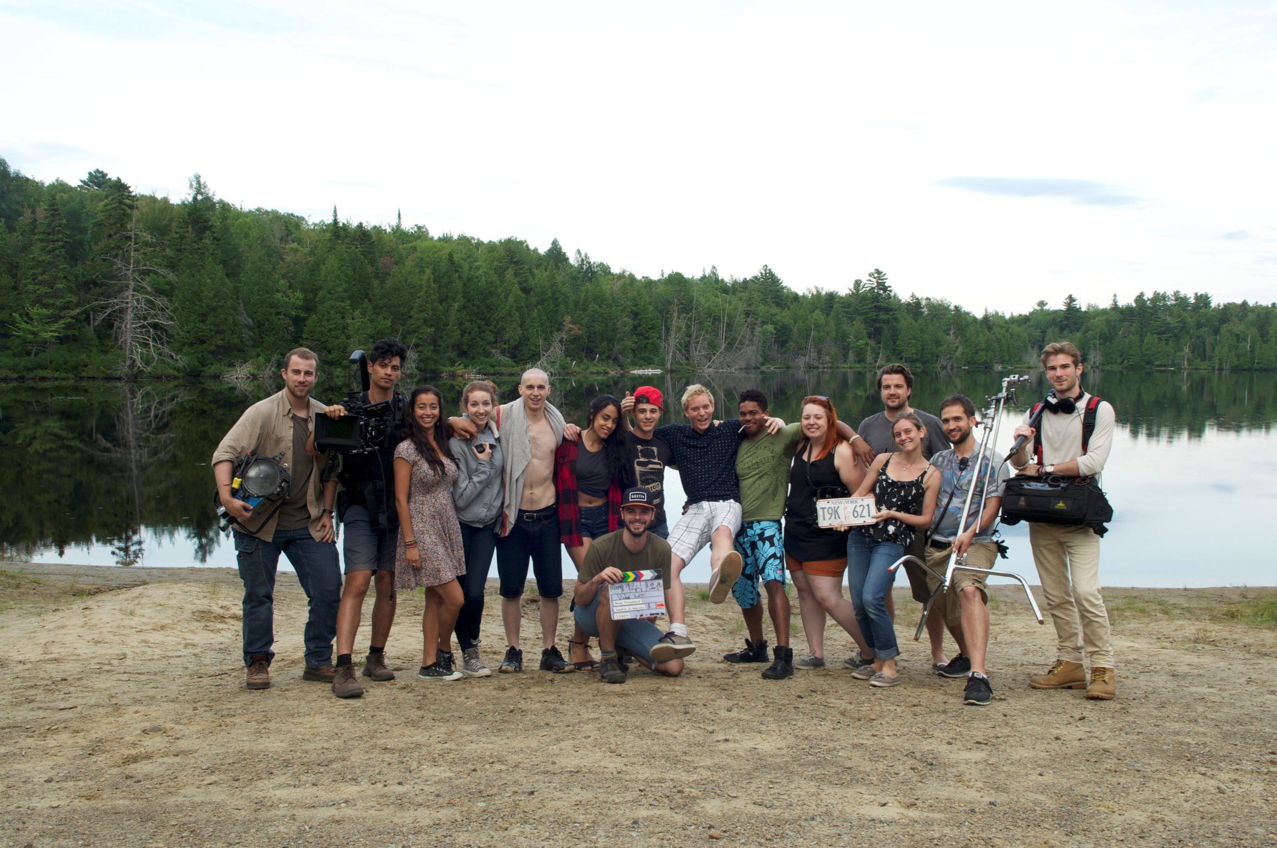 Cast and crew on location at lake, in Chertsey, Q.C. Photo courtesy of Richard Lessard