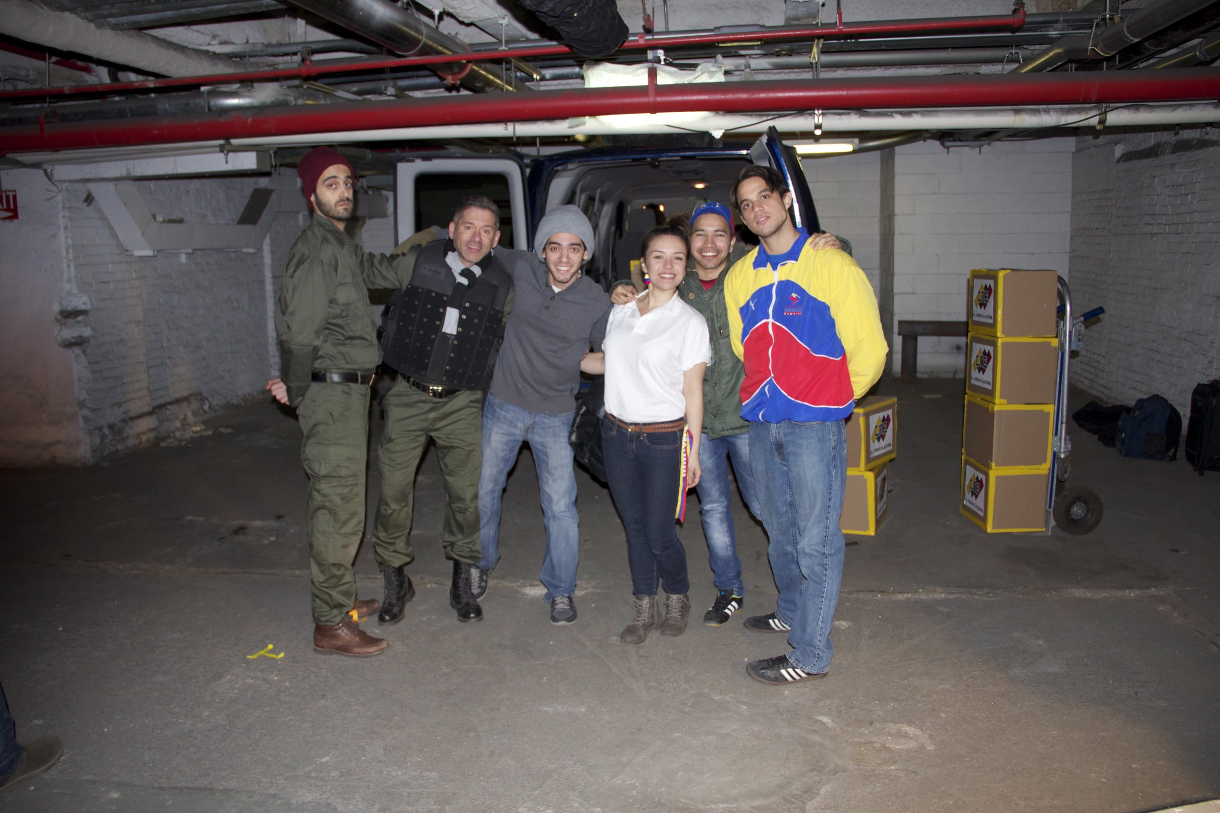 The cast of A New Civilization are all smiles after filming a tense scene. Cast from left to right include: Stefano Fossa (Officer Gonzalez), Marcelo Rodriguez (The Chief), Williams Naranjo (Writer/Director), Shanty Rodrigues (Ana), Nelson Rangel (Antonio) and Andres Sosa (Alfredo).