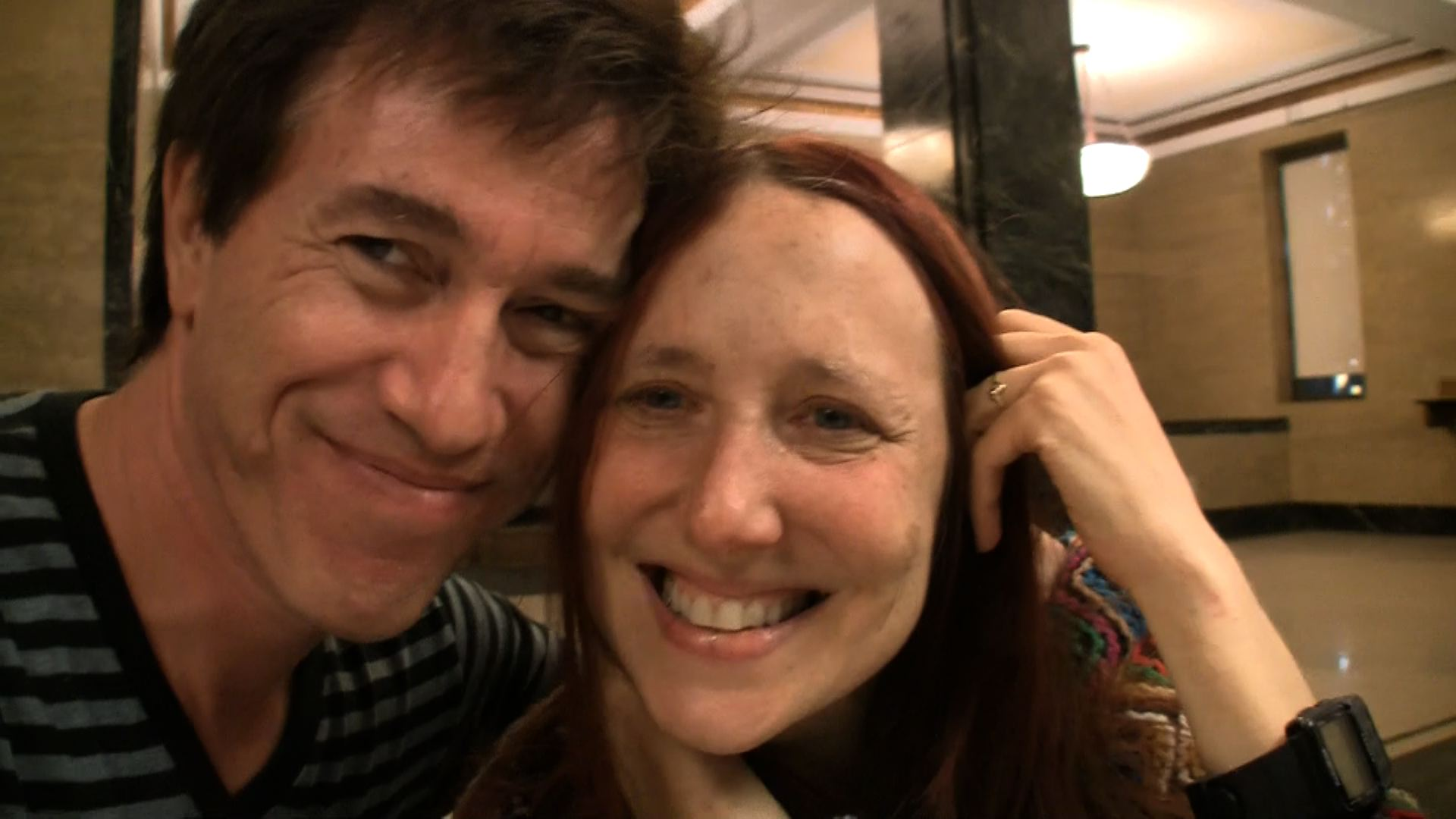 Lisa & Phil at City Hall just after receiving theirmarriage license