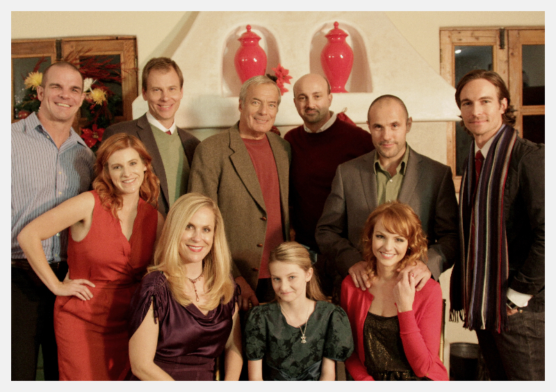 """""""My Christmas Wish"""" Cast (from left to right; back row Ian Roberts, John C. Epperson, Louis Dezseran, James Tumminia, Andreas Beckett and Nick Steele; second rom Heather Harper, Tara Emerson, Ashley Lynne Switzer and Anne Leighton"""