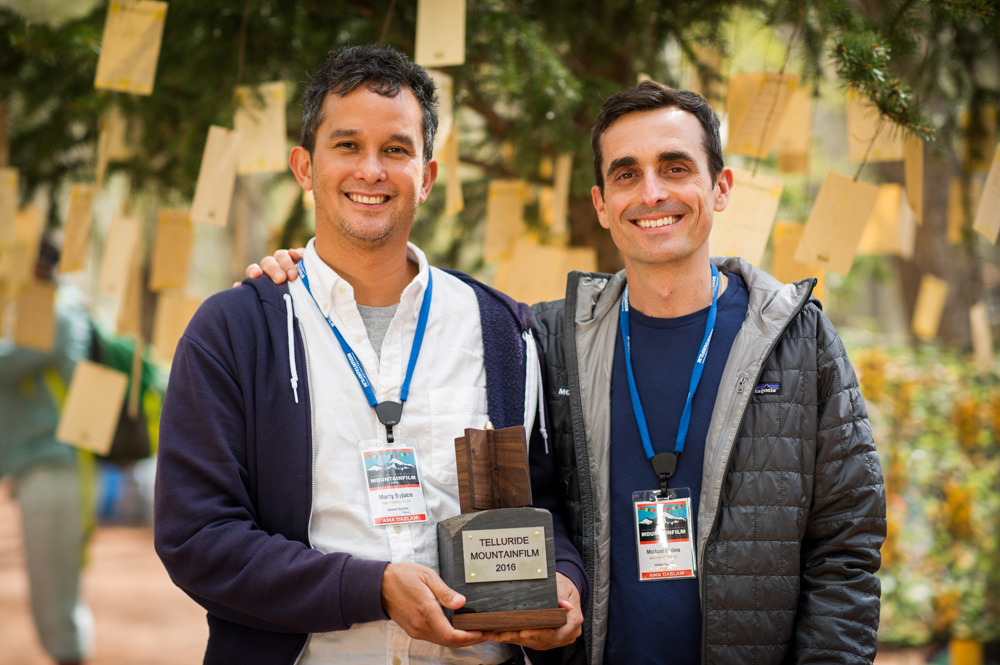 Almost Sunrise - Producer Marty Syjuco and Director Michael Collins at Telluride Mountainfilm Festival.