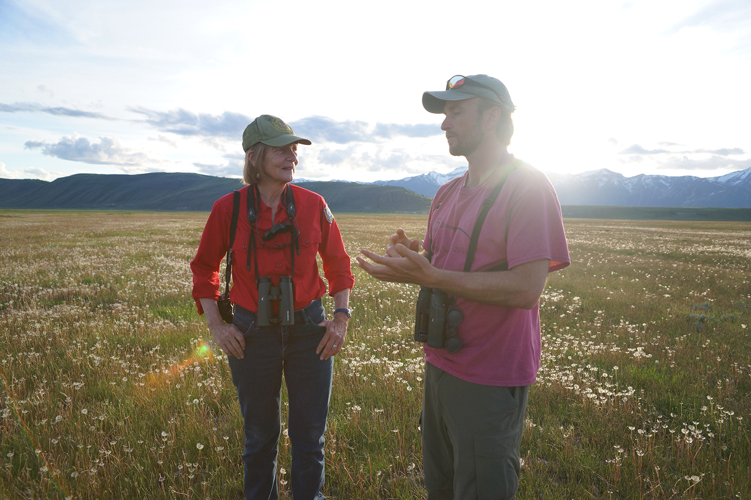Far Afield: A Conservation Love Story - Susan Patla, Nongame Biologist with Wyoming Game and Fish, and Jay Carlisle, Research Director of the Intermountain Bird Observatory at Boise State, on the National Elk Refuge to put transmitters on curlews. The study is partially funded by the Raynes Wildlife Fund. Photo credit: JenTen Productions.