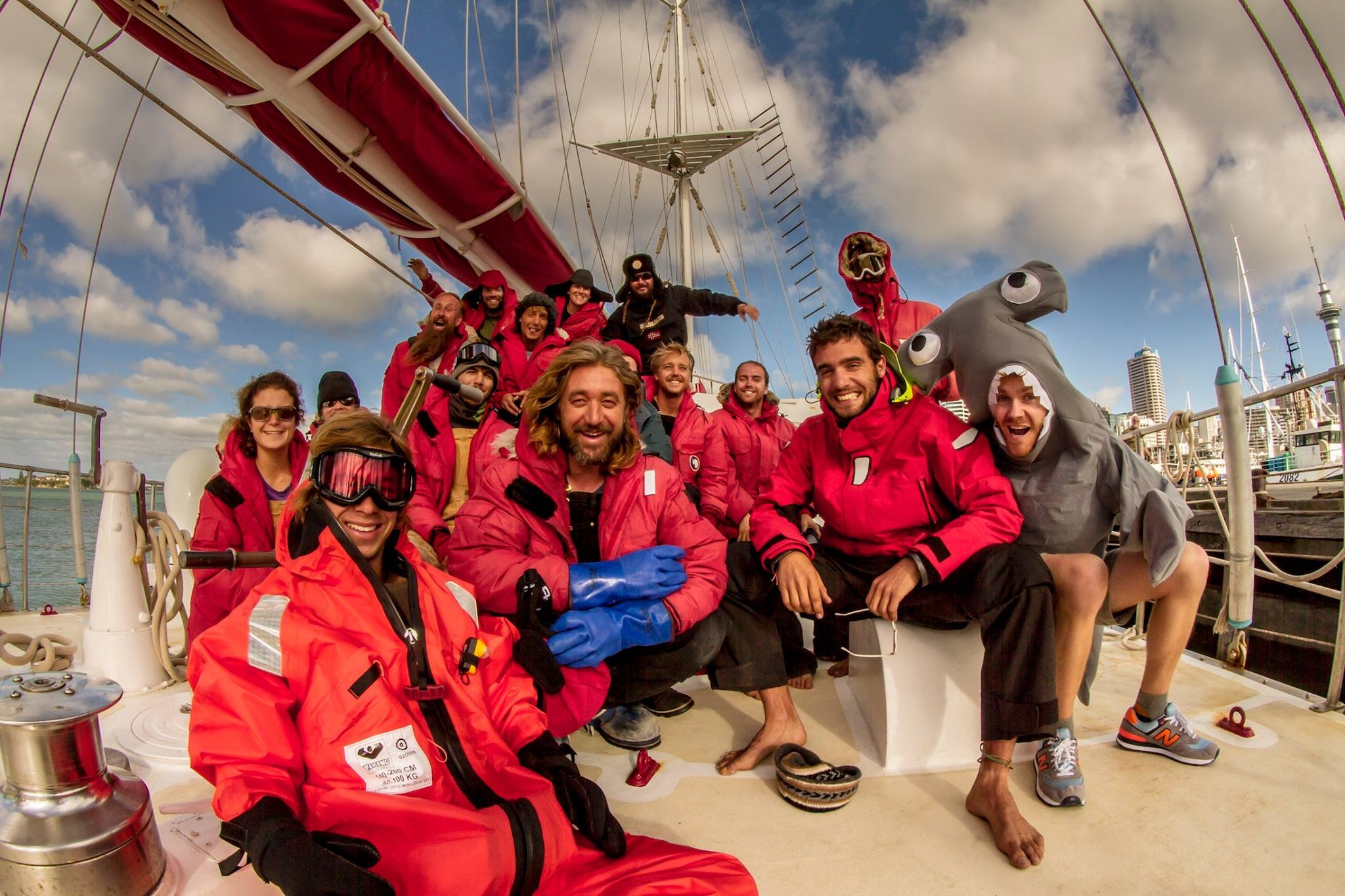 Sea Gypsies: The Far Side of the World - preparing to depart Auckland - Crew in high spirits getting ready to head South from New Zealand
