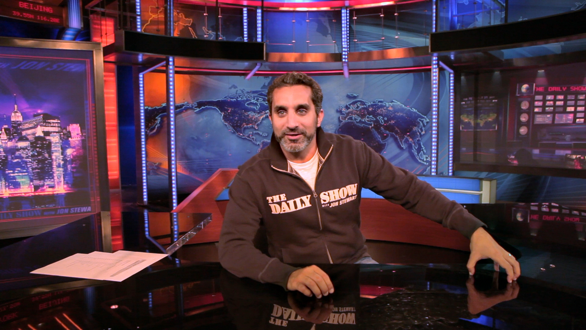 Bassem visits The Daily Show in June 2012.