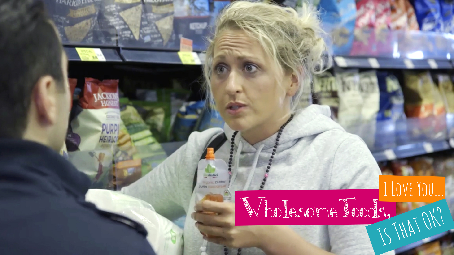 """Showrunner Krista Hovsepian as """"Julia"""" in Wholesome Foods, I Love You... Is That OK?"""