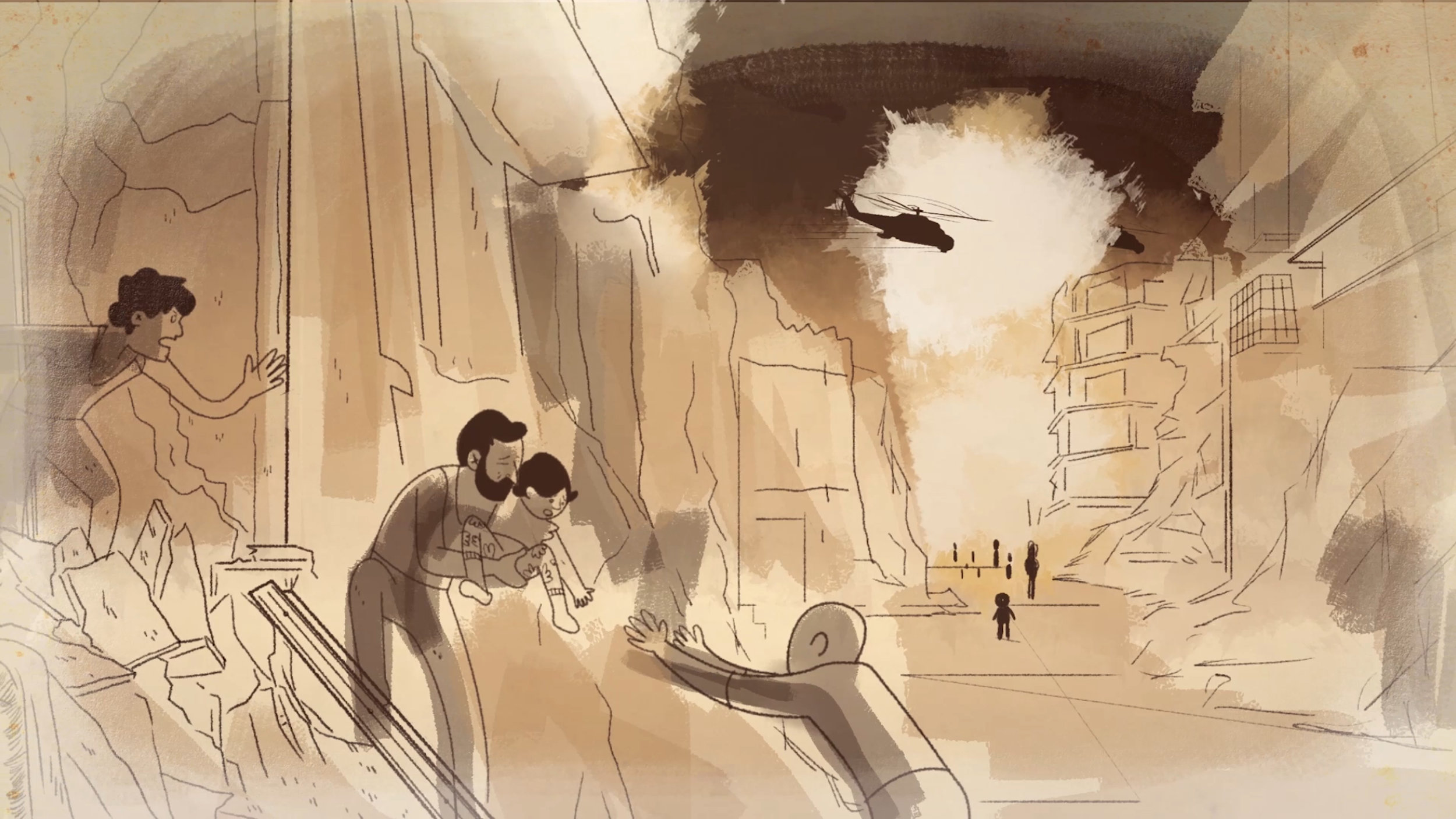 Unbroken Paradise - A clip of the animated portion of the film showing the aftermath of shelling in a neighbourhood in Syria. Illustration and animation by Alcides Urrutia, Pirata y Luna Creative Studio.