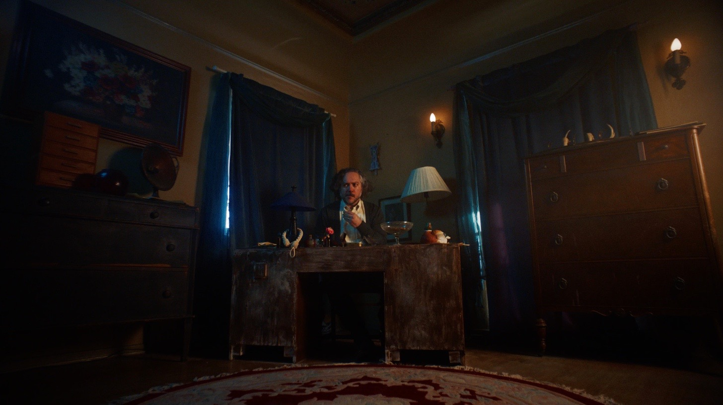 Chris at his writing desk