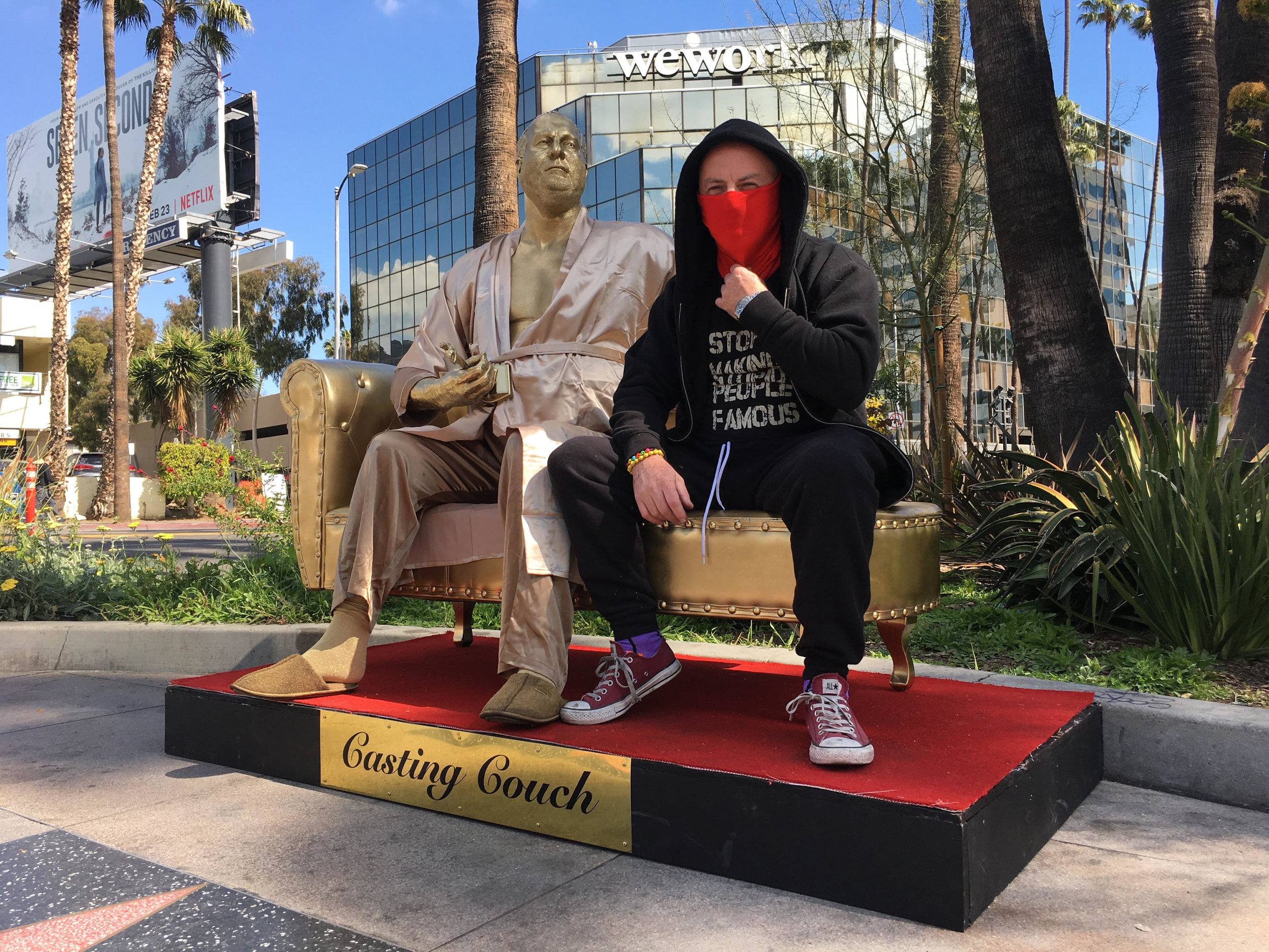 """Plastic Jesus and """"Harvey"""" are ready for their close-up on Hollywood Boulevard."""