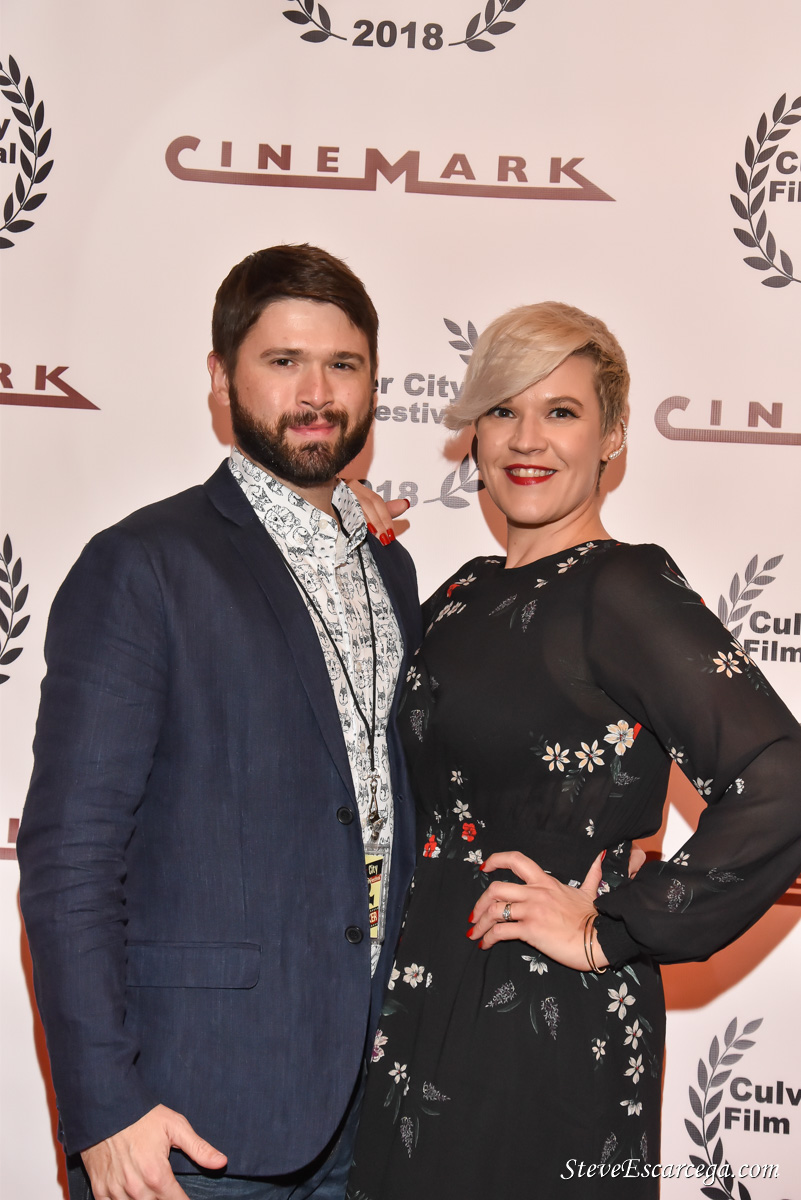 """Cameron Thrower (Dir) & Rebekah Tripp (Producer/ Actress) at the world premiere of """"Can You Take My Picture"""" playing at Cinemark 18 in Culver City."""