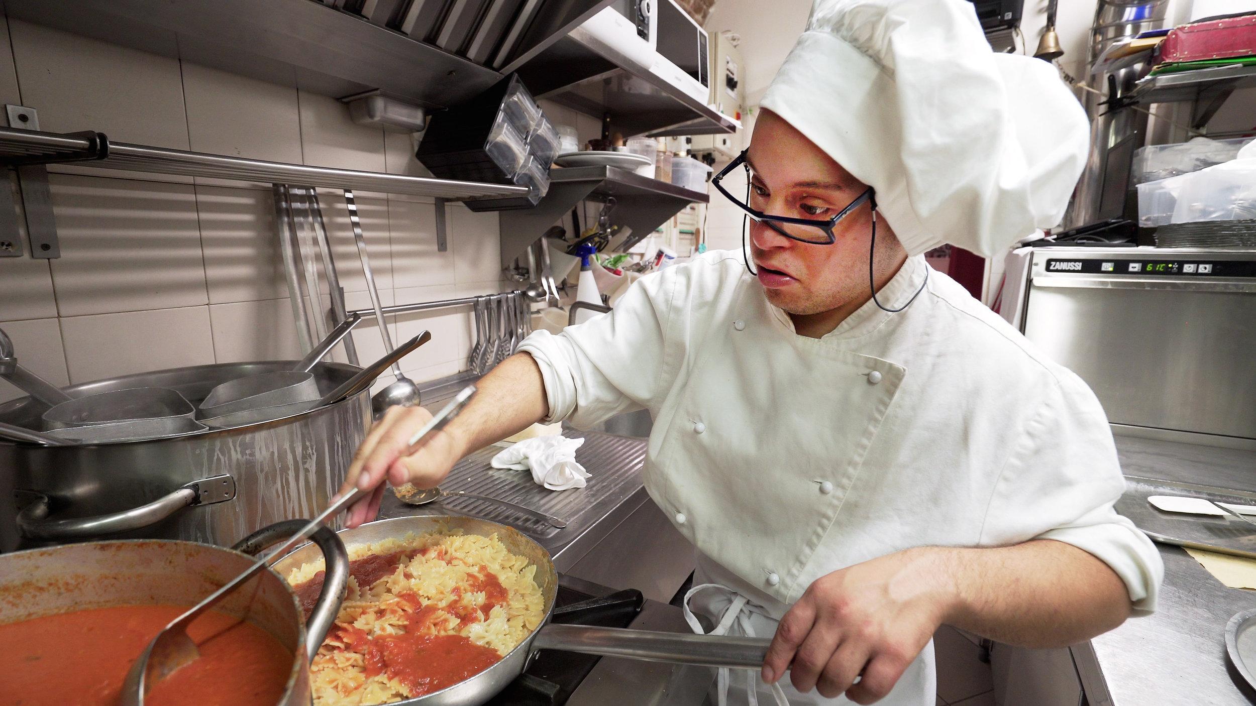 Trainee chef Mirko Piras at Tacabanda restaurant Asti Italy