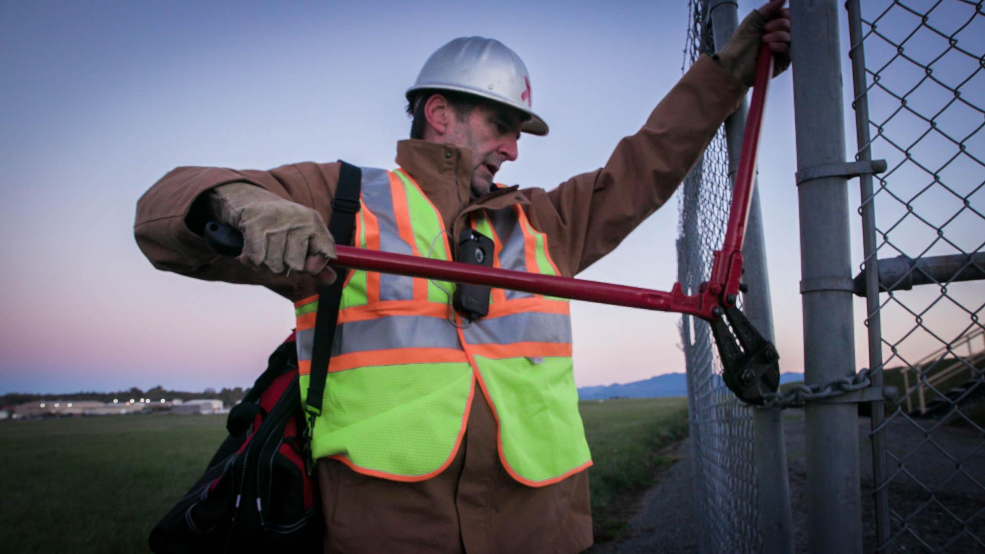 Ken Ward breaks into the TransMountain Pipeline facility October 11, 2016.
