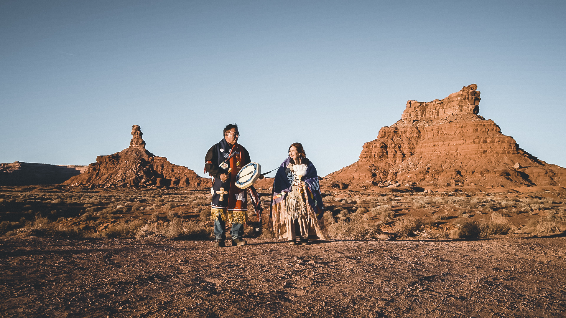 Kee Kaibetony and his wife, Rebecca, play their ancestral song in the Valley of the Gods, a sacred area no longer protected by the new boundaries of Bears Ears National Monument.