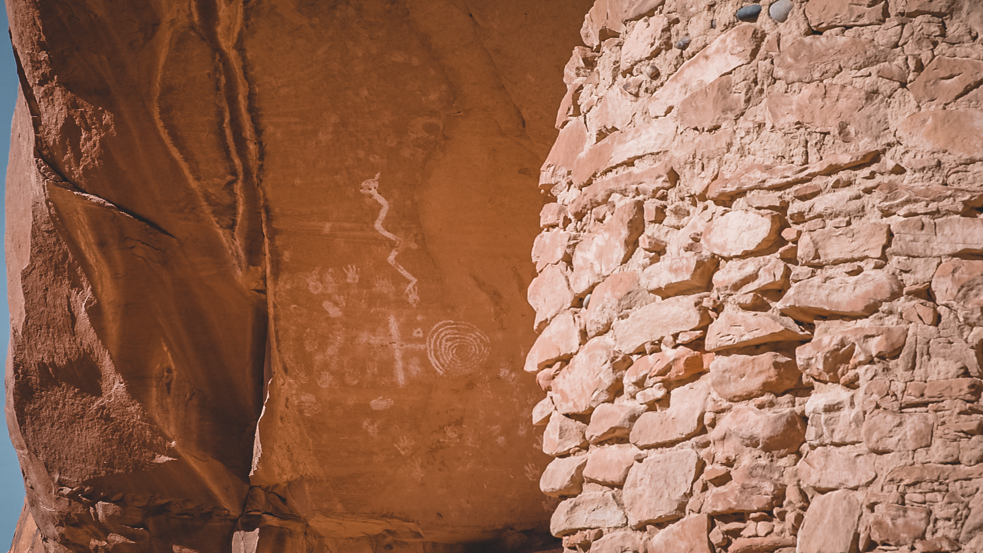 Petroglyphs in the River House Ruin, an ancient Anasazi dwelling in the Cedar Mesa area of Bears Ears. This ruin is no longer protected by the new boundary lines.
