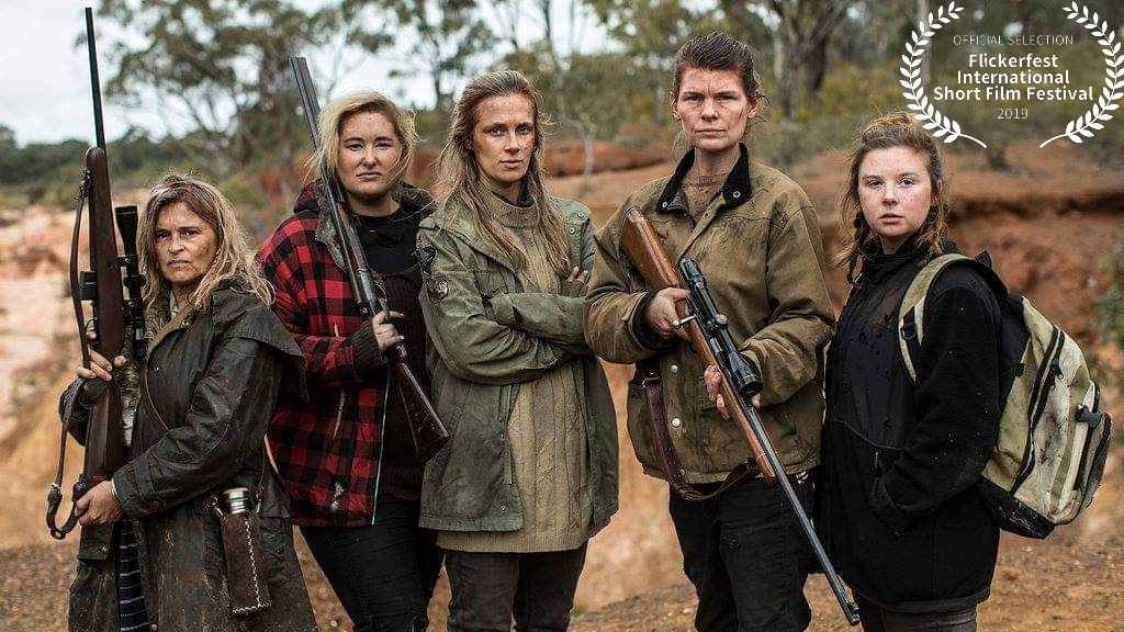 Cast of The Hunt: Kaarin Fairfax, Luci Hare, Catherine Mack, Holly Hargreaves and Ruby Rees