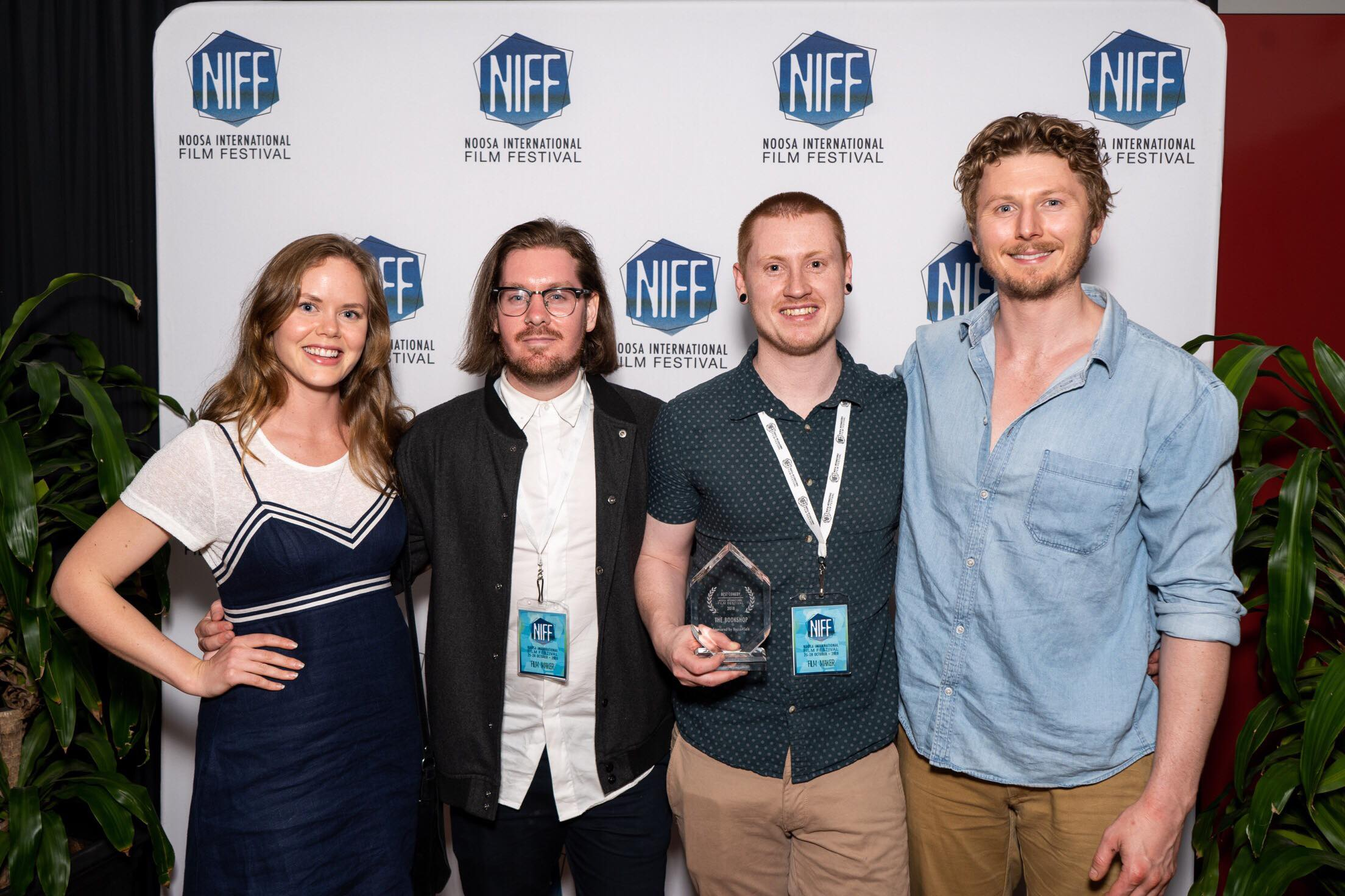 Emily Gruhl (Actress), Benjamin Powell (Cinematographer), Ashley Pollard (Writer/Director, Alastair Osment (Actor) at the Noosa International Film Festival after receiving the award for Best Comedy for the The Bookshop.