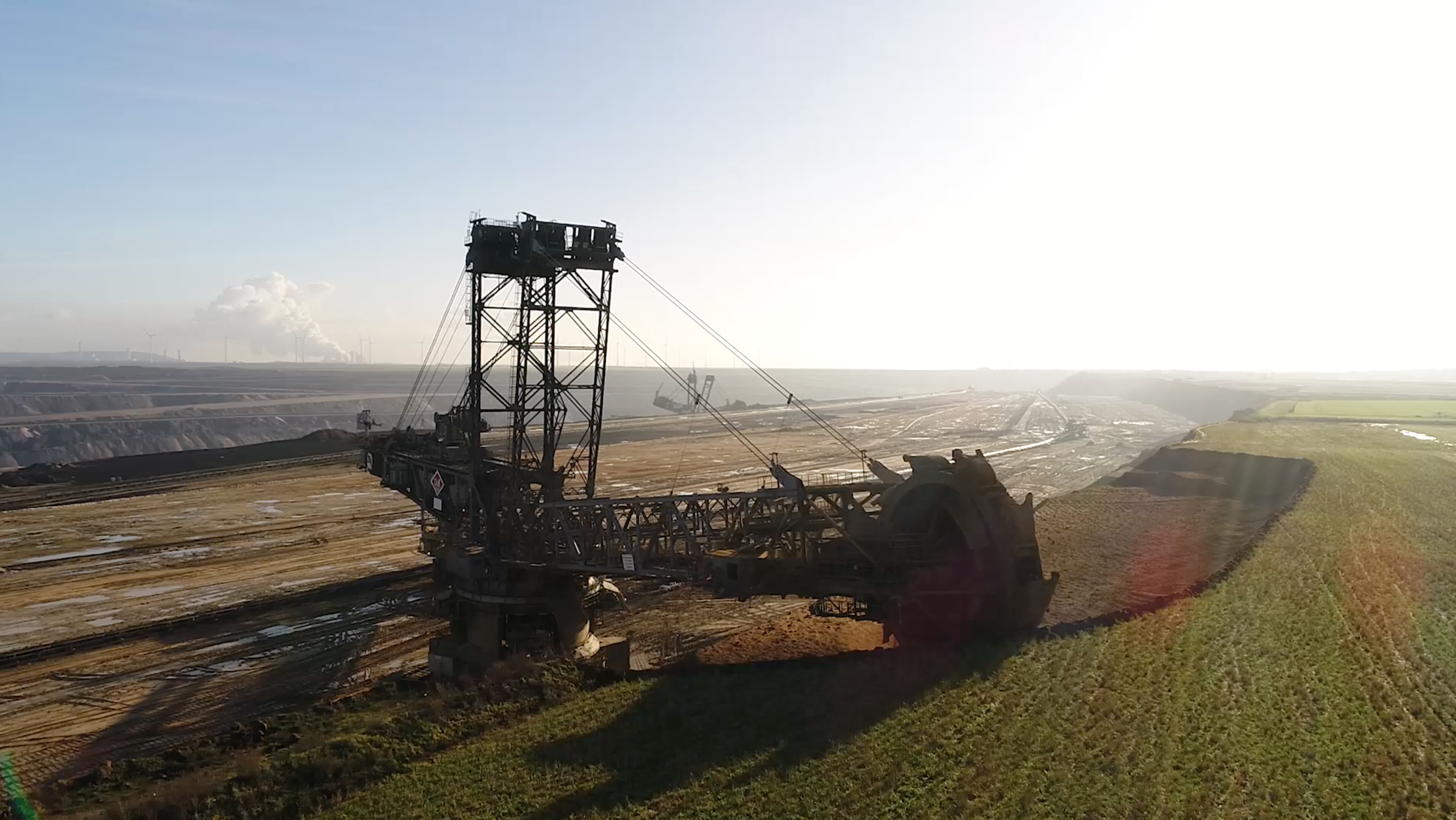 An RWE, the energy company mining brown coal, digger at work.