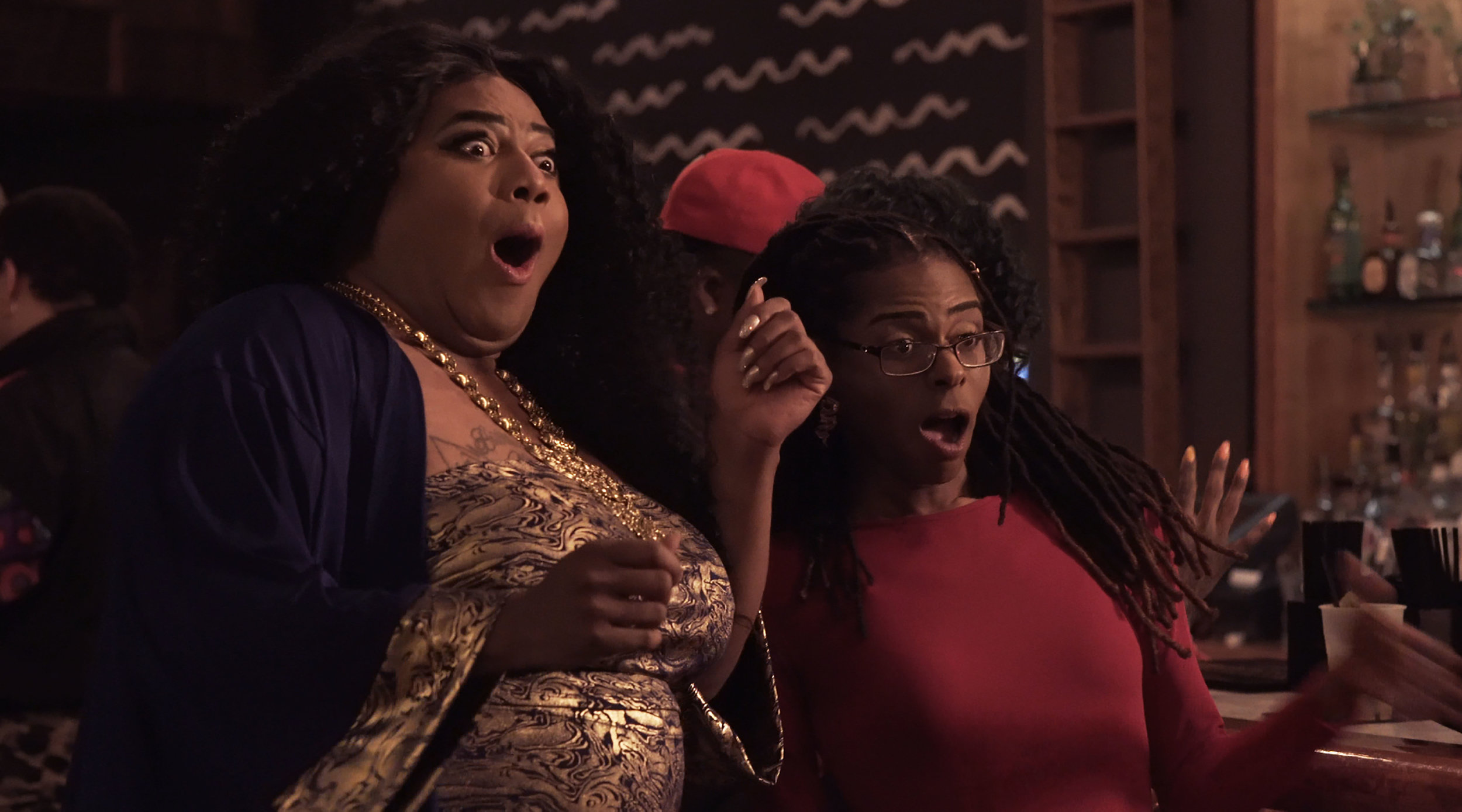 Shevon and Amirah react to Chanel's outlandish birthday look as she arrives to the club.