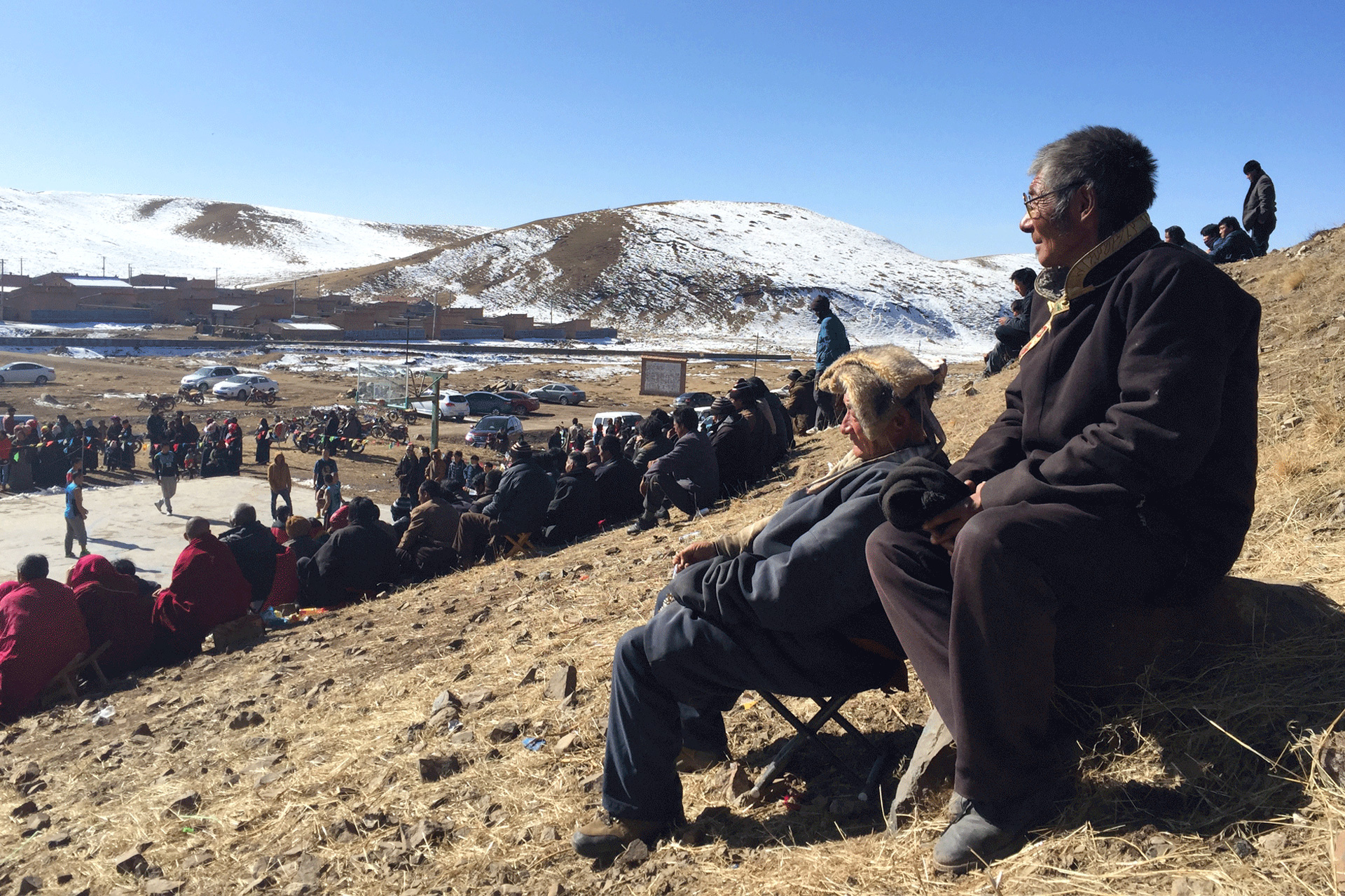 Tibetans Watching a basketball game