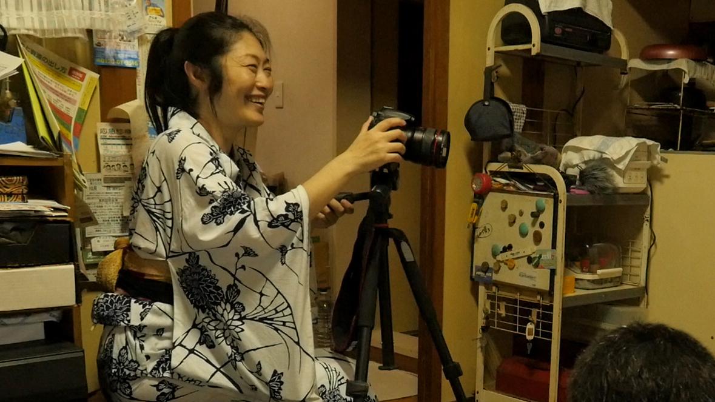 Director filming in Kimono