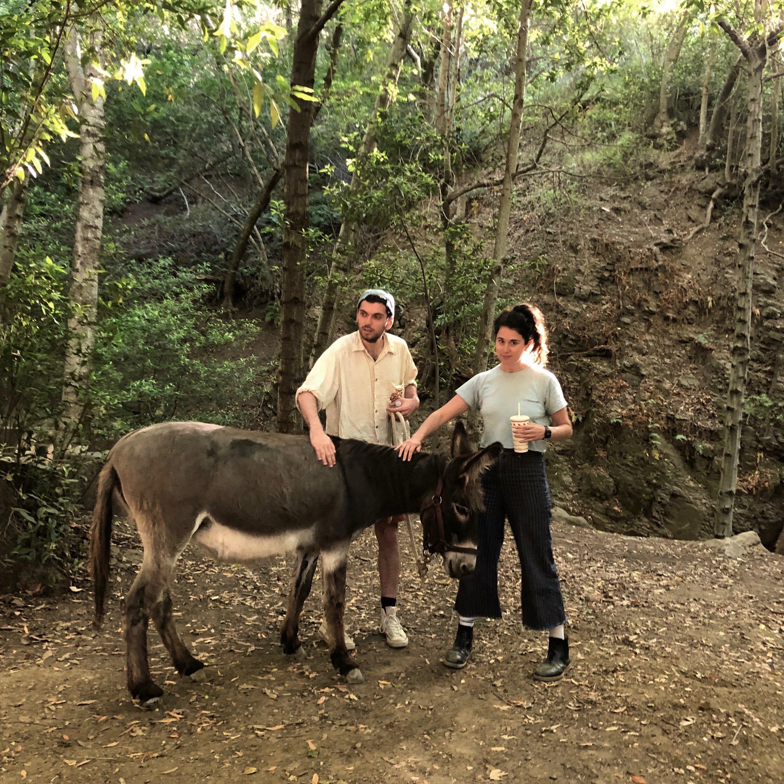 Writers & Directors Raphael Linden and Susannah Greenblatt appreciating Juanita the Donkey