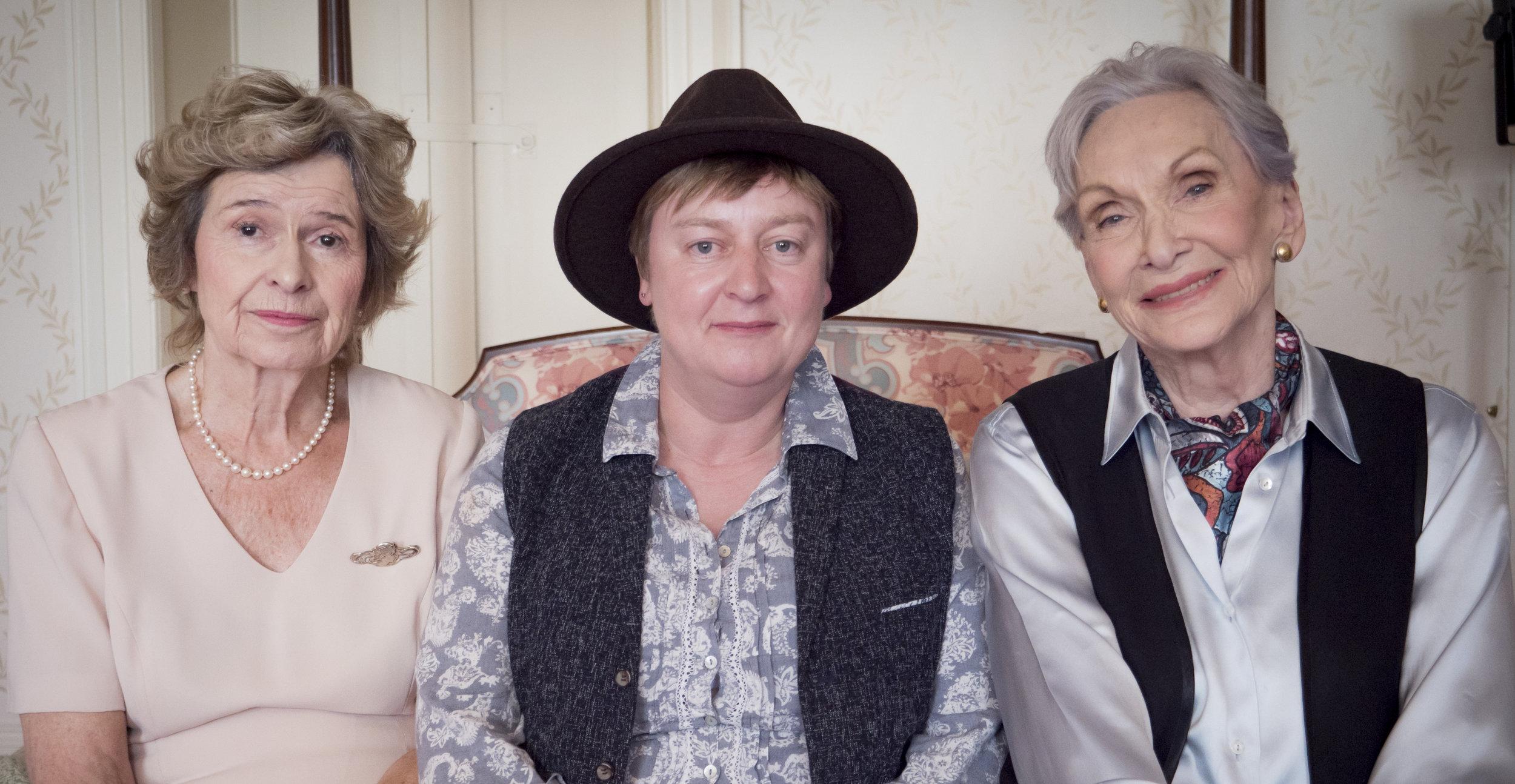 Actress Brigit Forsyth, director Rachel Dax and actress Dame Sian Phillips.