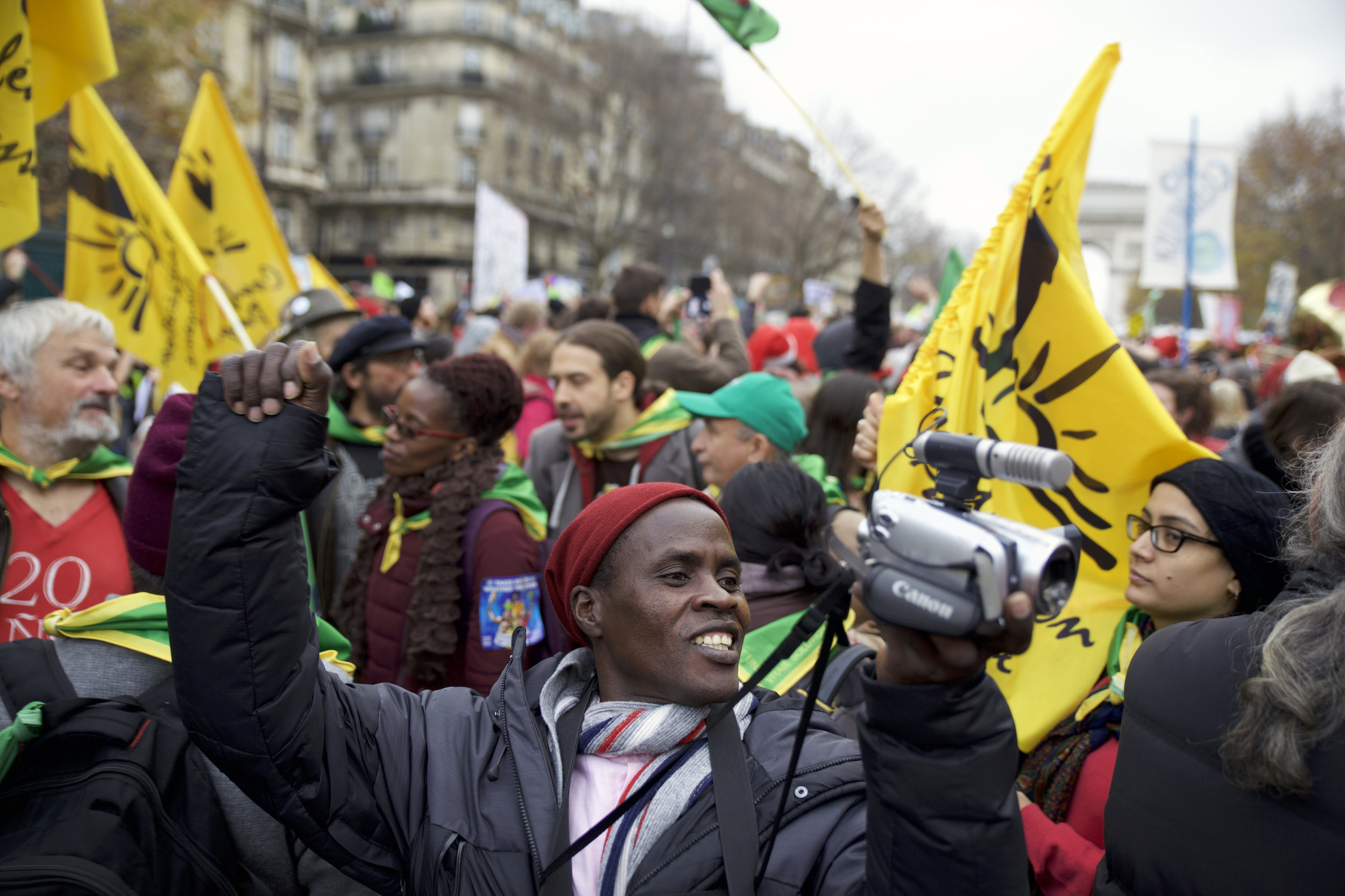 Kisilu Musya at a protest during the COP21 climate negotiations in Paris, 2015