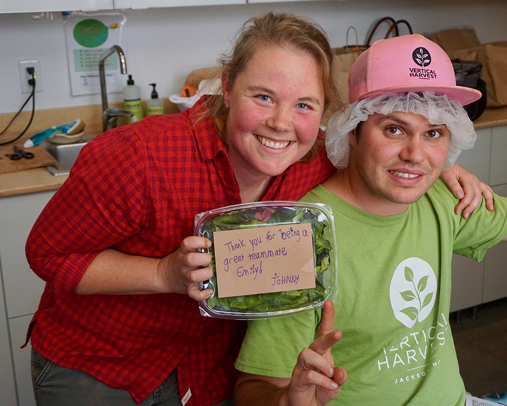 Microgreen co-workers - Emily and Johnny.