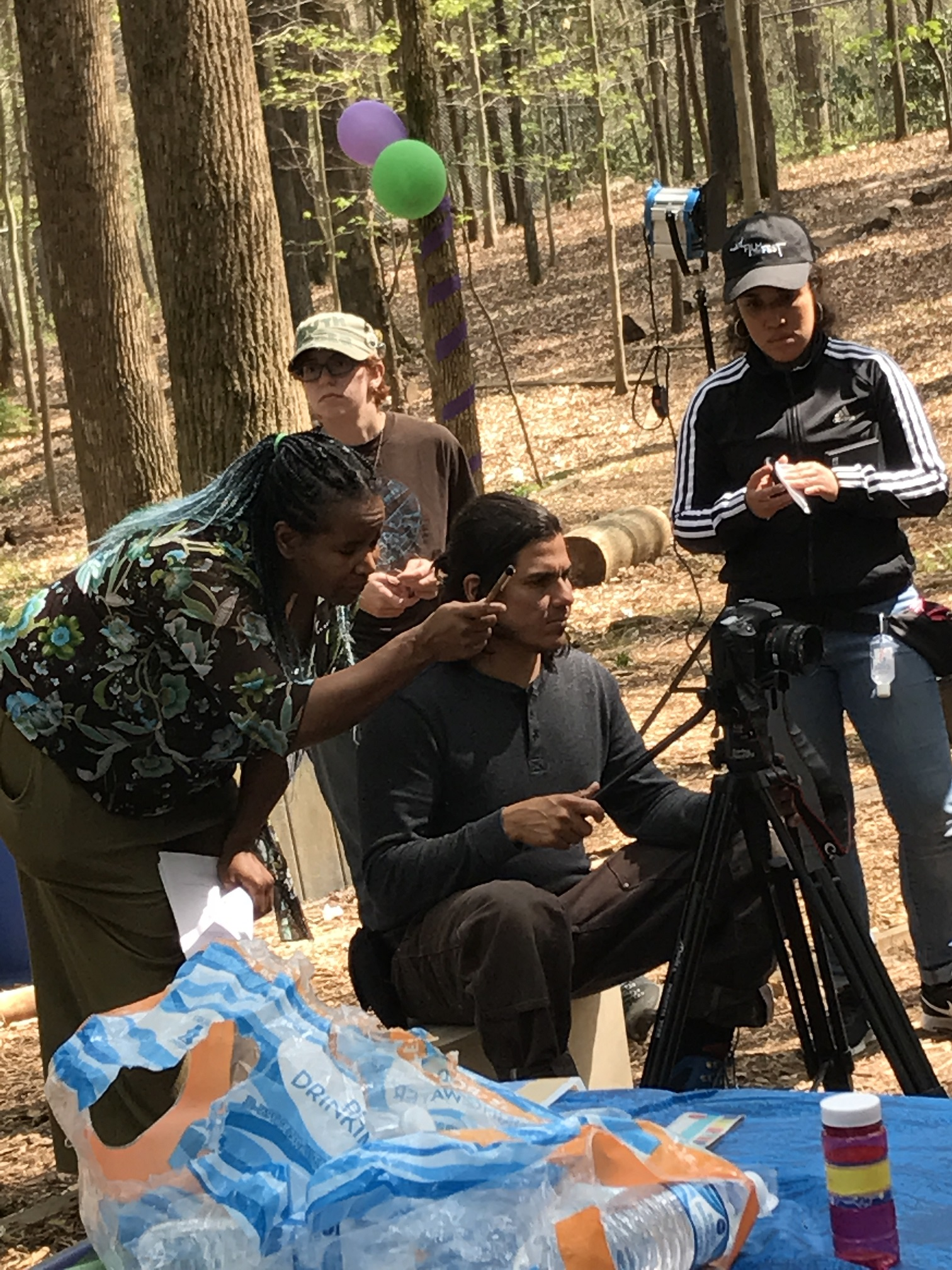 Behind the scenes of A Swing And A Switch - Director Shanalyna Cp, DP Roberto Hernandez, Grip Anna R Brown and AC Priscilia Torres - Setting the shot