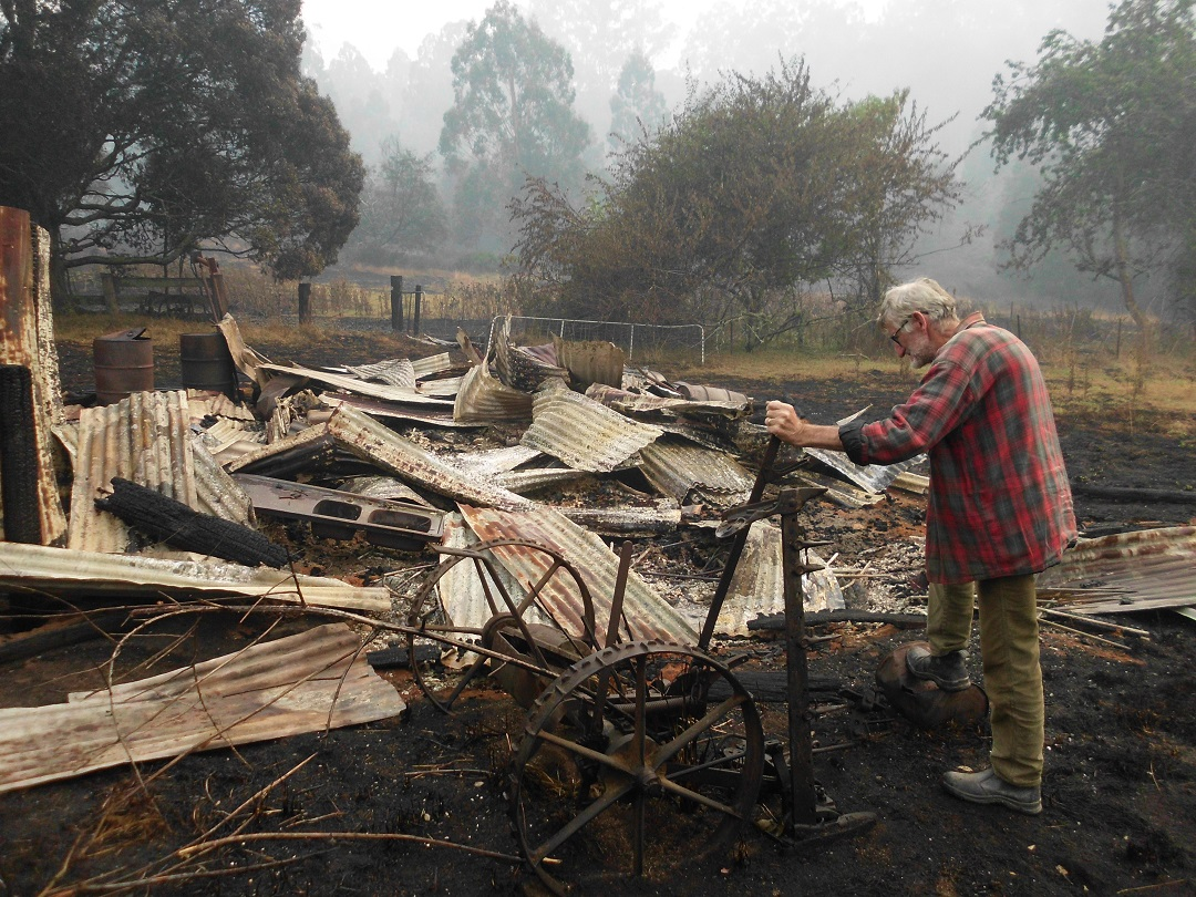 Local Resident visiting his neighbours after the fires