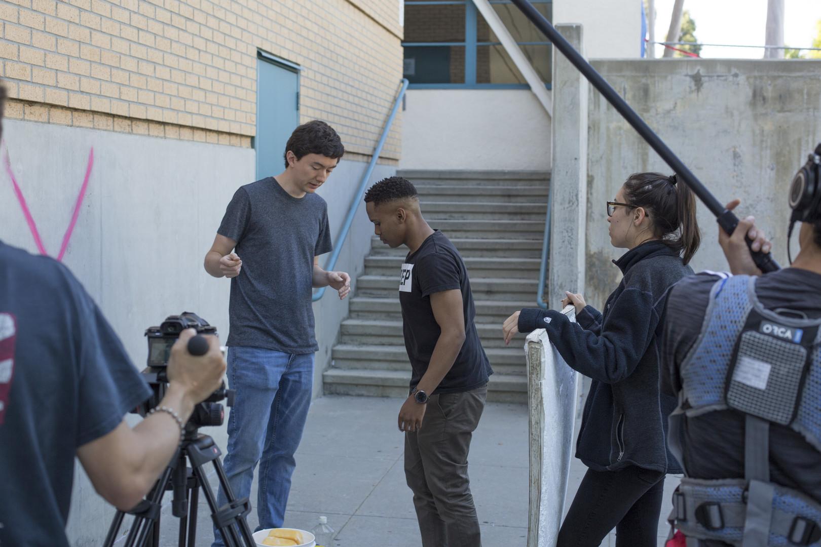Ryan Larkin directs Reale Kgobokoe during the film's final scene - Photo: Keith Battista