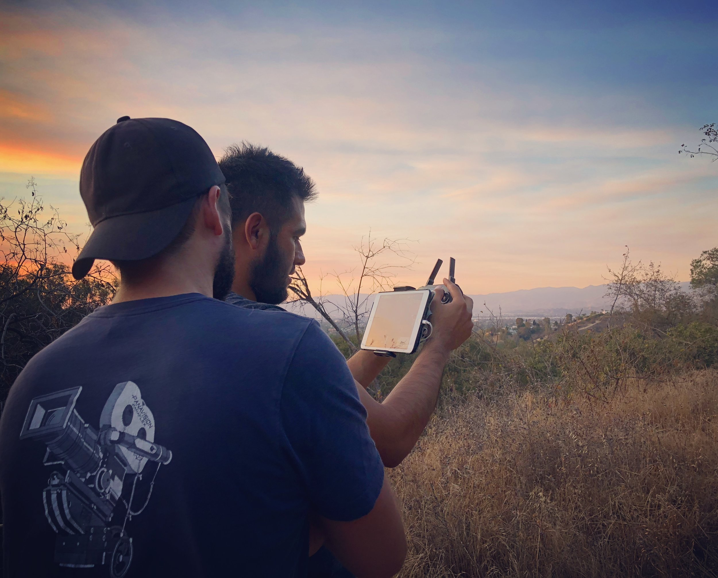 BTS with Jesse Aragon (DP) & Cameron Thrower (Dir.) capturing the drone shot.