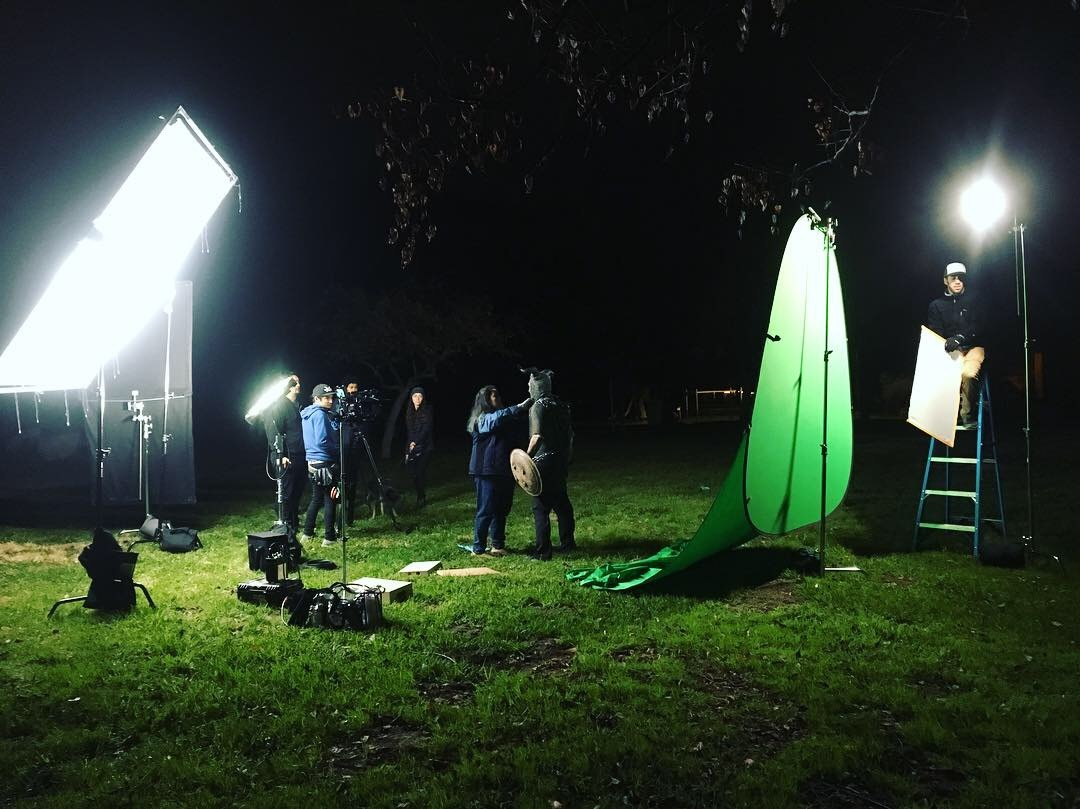 Night shoot for the Monster's big reveal...