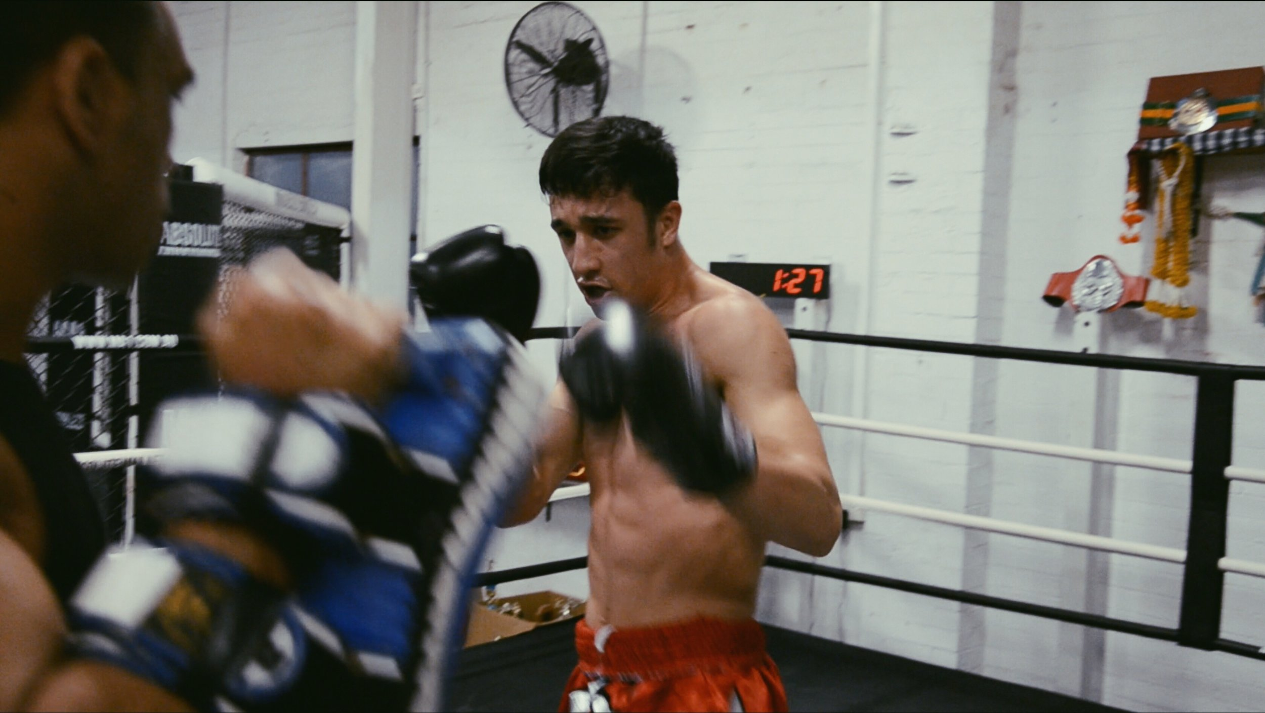 Liam working on his pad kicking
