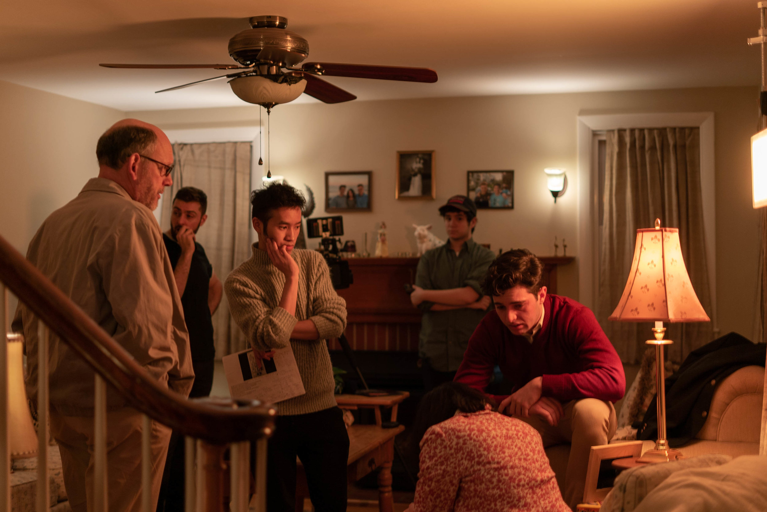 Behind the scenes of Influence (Left to right: George Vezina (Greg) Director of Photography Neil Guliano, Director Indy Dang, Joshua Bermel (1st AC), Callie Beaulieu (June) and Kyle Brier (Cal))