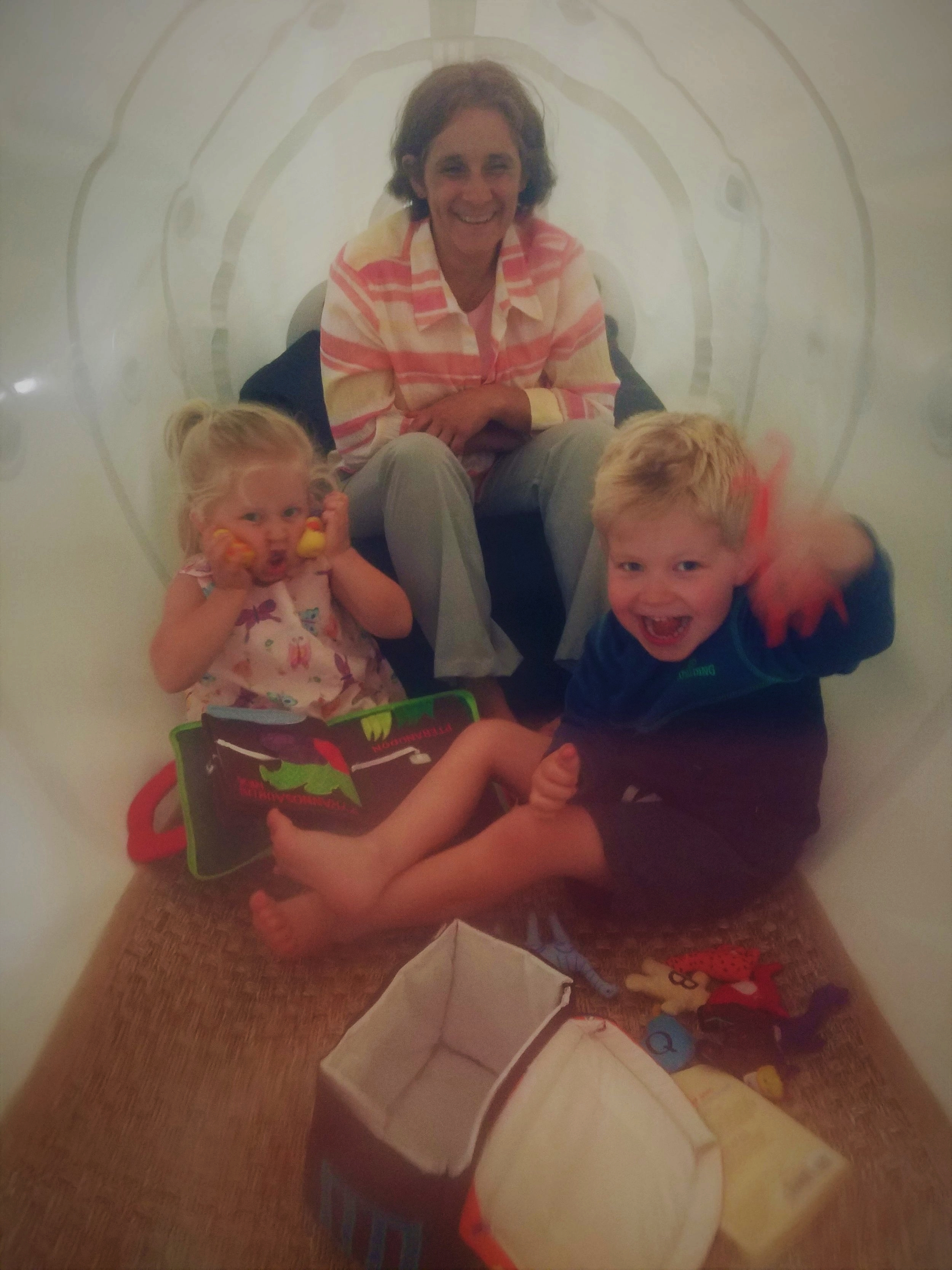 Large chamber fits multiple people for a very comfortable and fun treatment.  The twins loves it! -