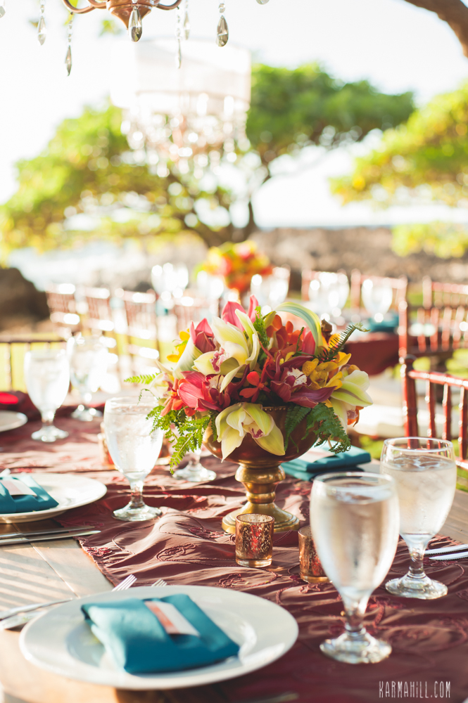 Tropical wedding tablescape by Bliss Wedding Design - photo by Karma Hill Photography