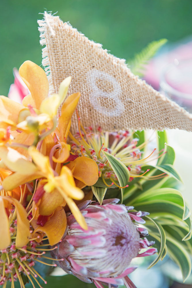 Burlap wedding table number by Bliss Wedding Design - photo by Caprice Nicole Photography