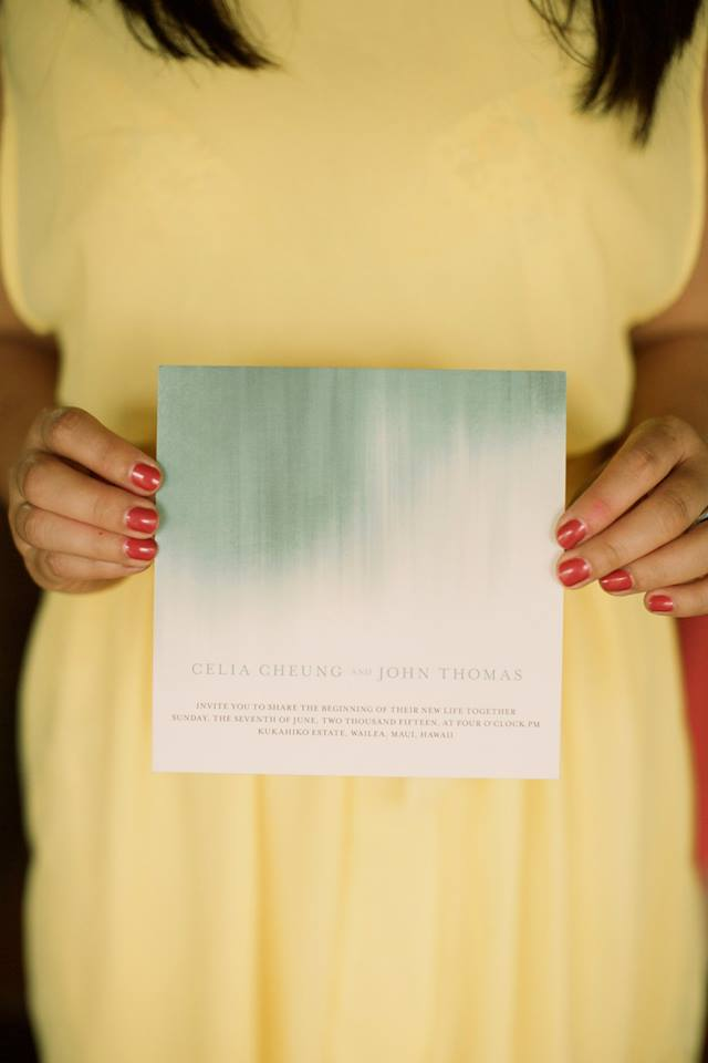 yellow and blue watercolor wedding invitation style