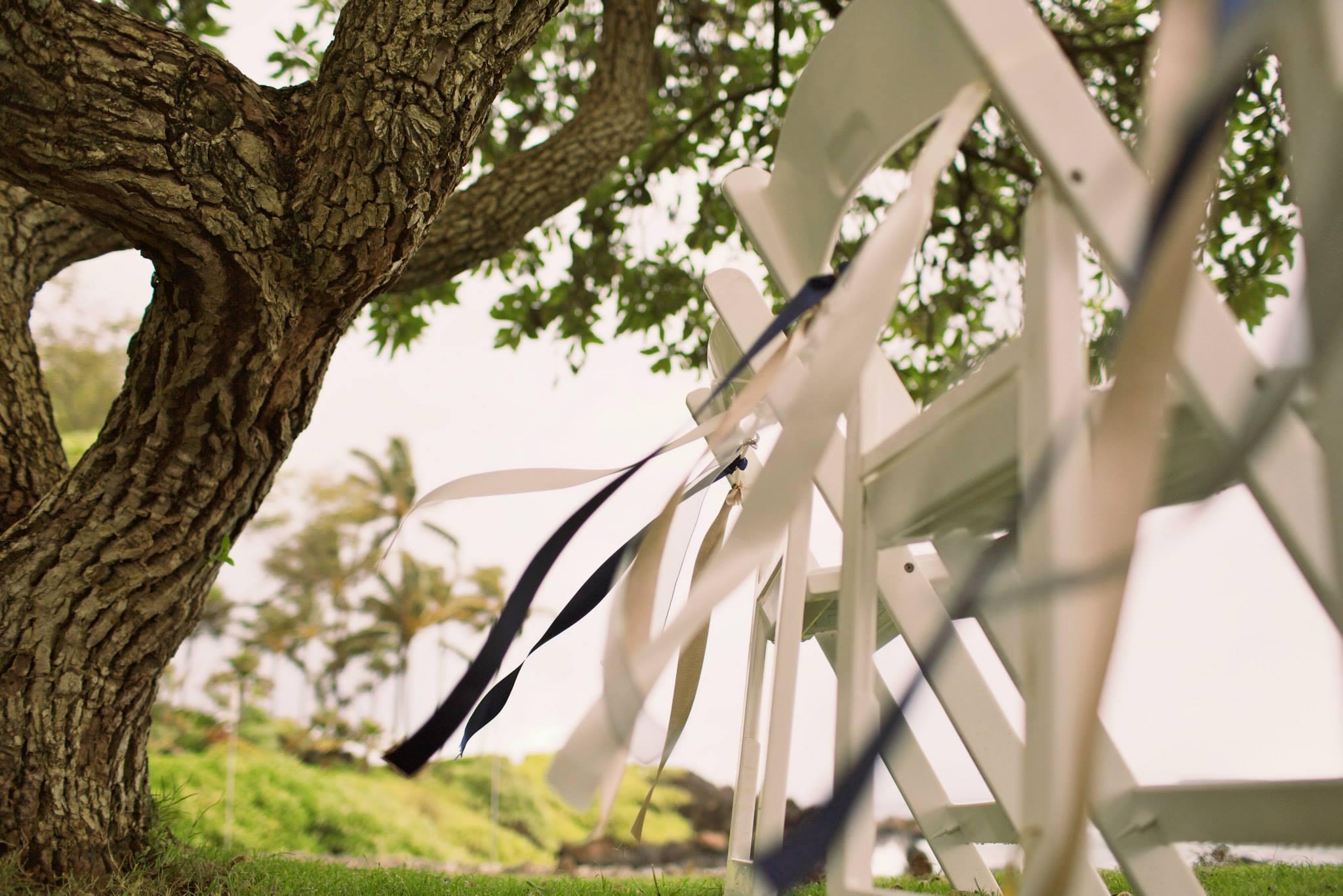 hawaii wedding ceremony seating with ribbon decor