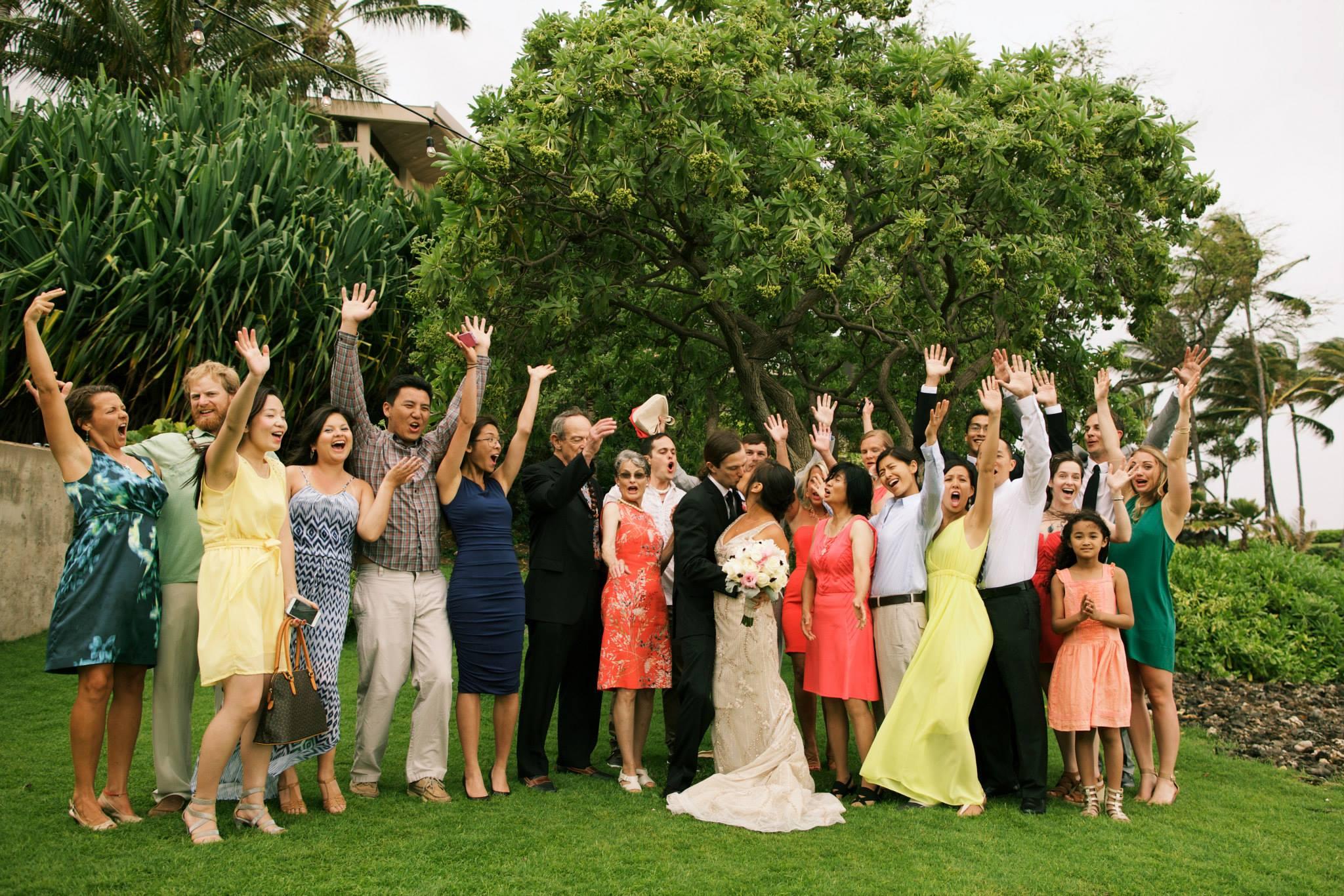 fun hawaii wedding group portrait
