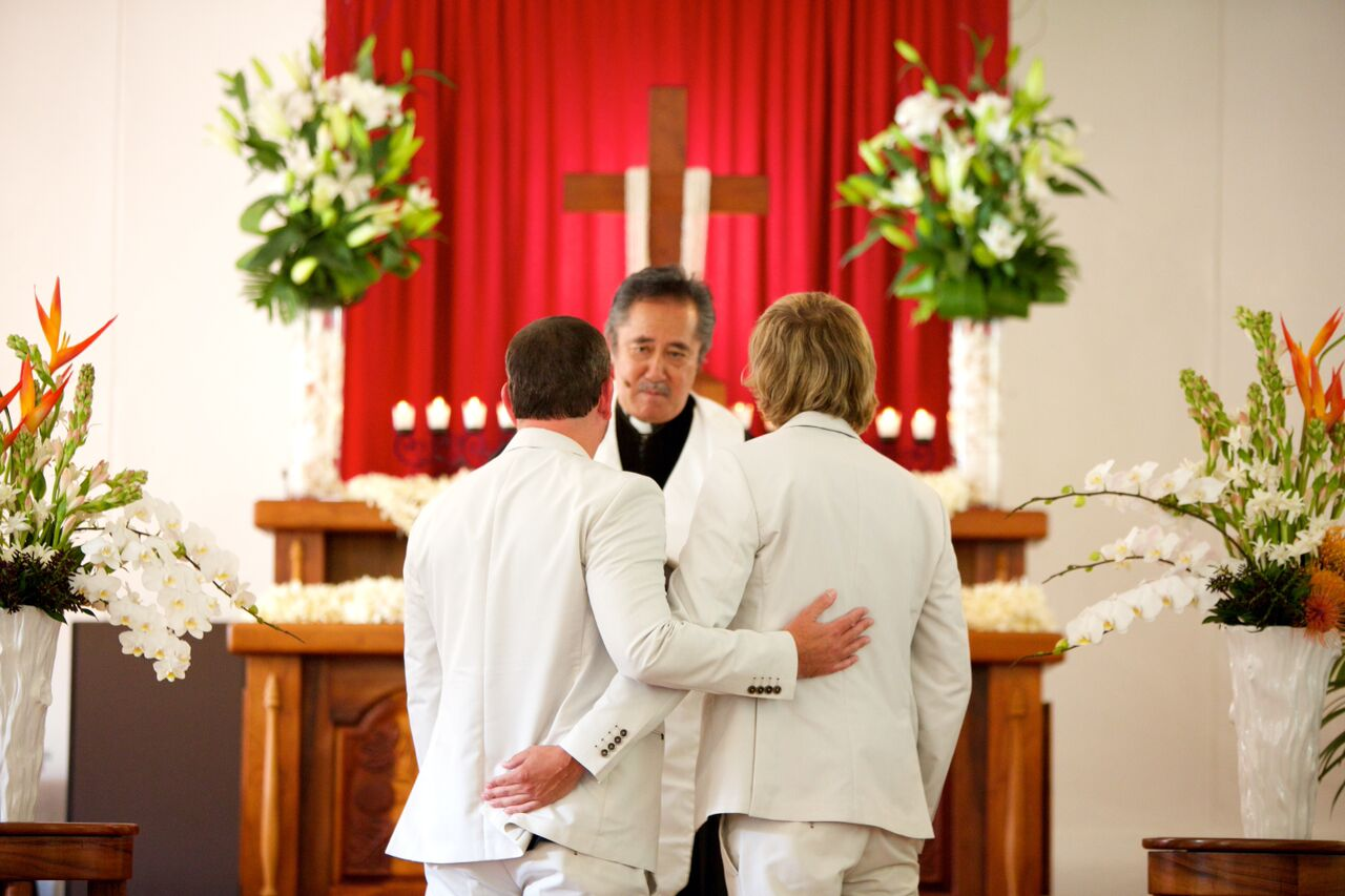 Gay Maui wedding at Keawala'i Chapel