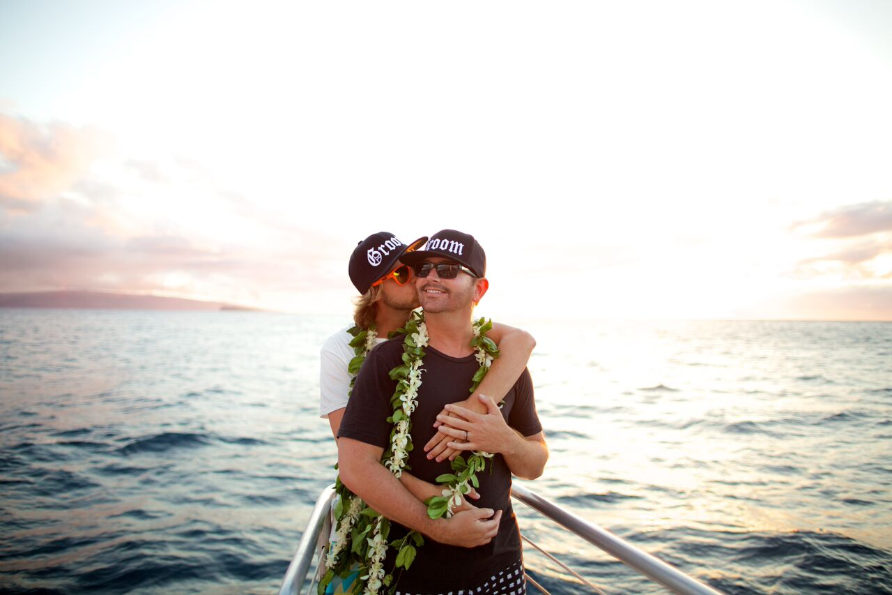 Maui wedding reception on the Kai Kanani boat