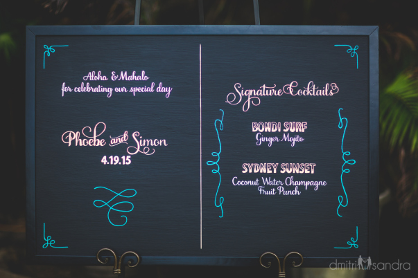 wedding drink menu sign