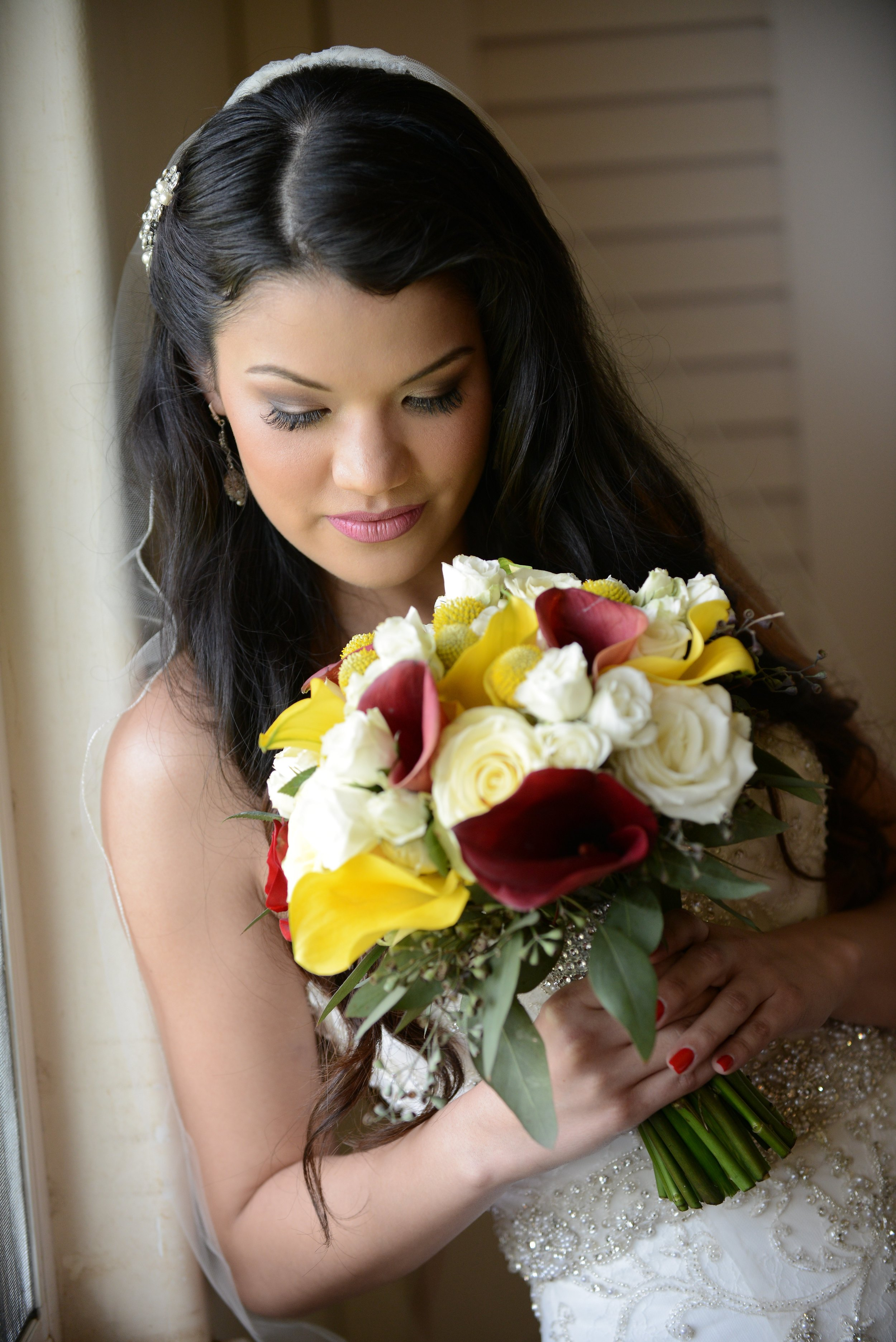 Bridal Bouquet - red and yellow and white