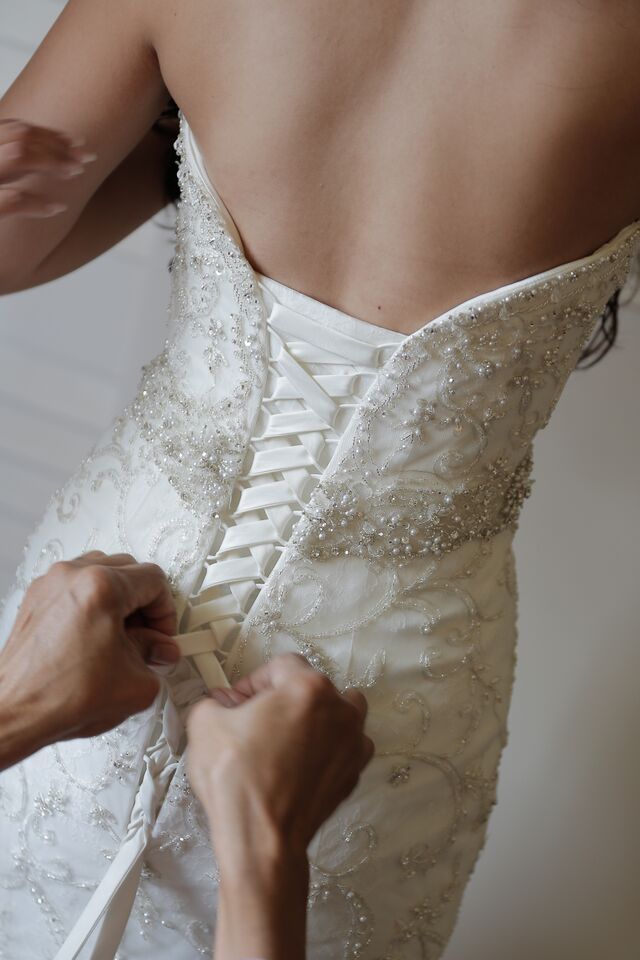 strapless, lace up, beaded bridal gown