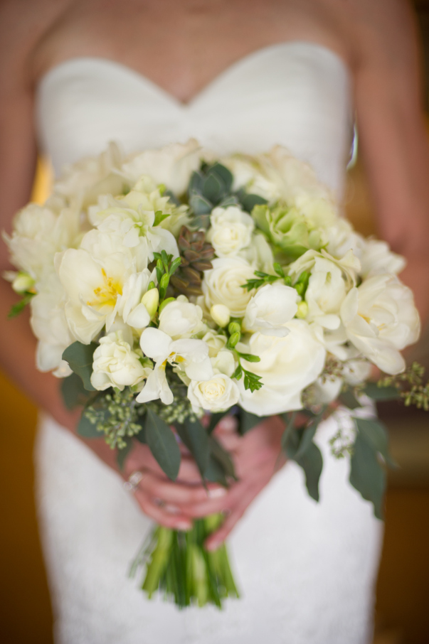 White and green bridal bouquet with accents of succulents