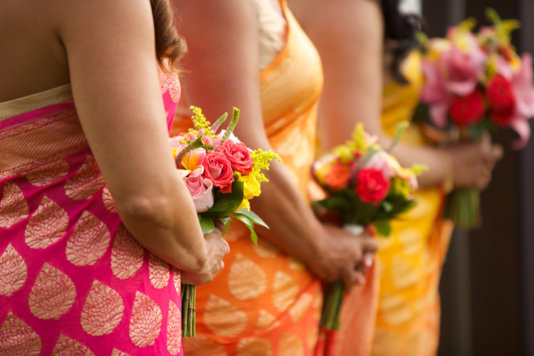 Colorful Bridesmaids Attire- bright pink, orange, and yellow