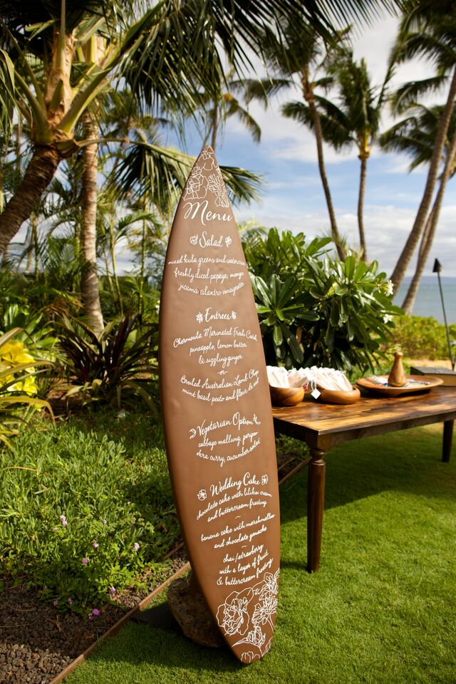 Island wedding menu surfboard