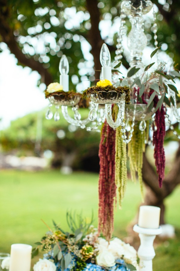 outdoor chandelier and wedding table