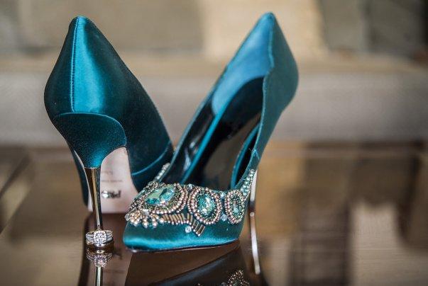 jeweled teal high heels